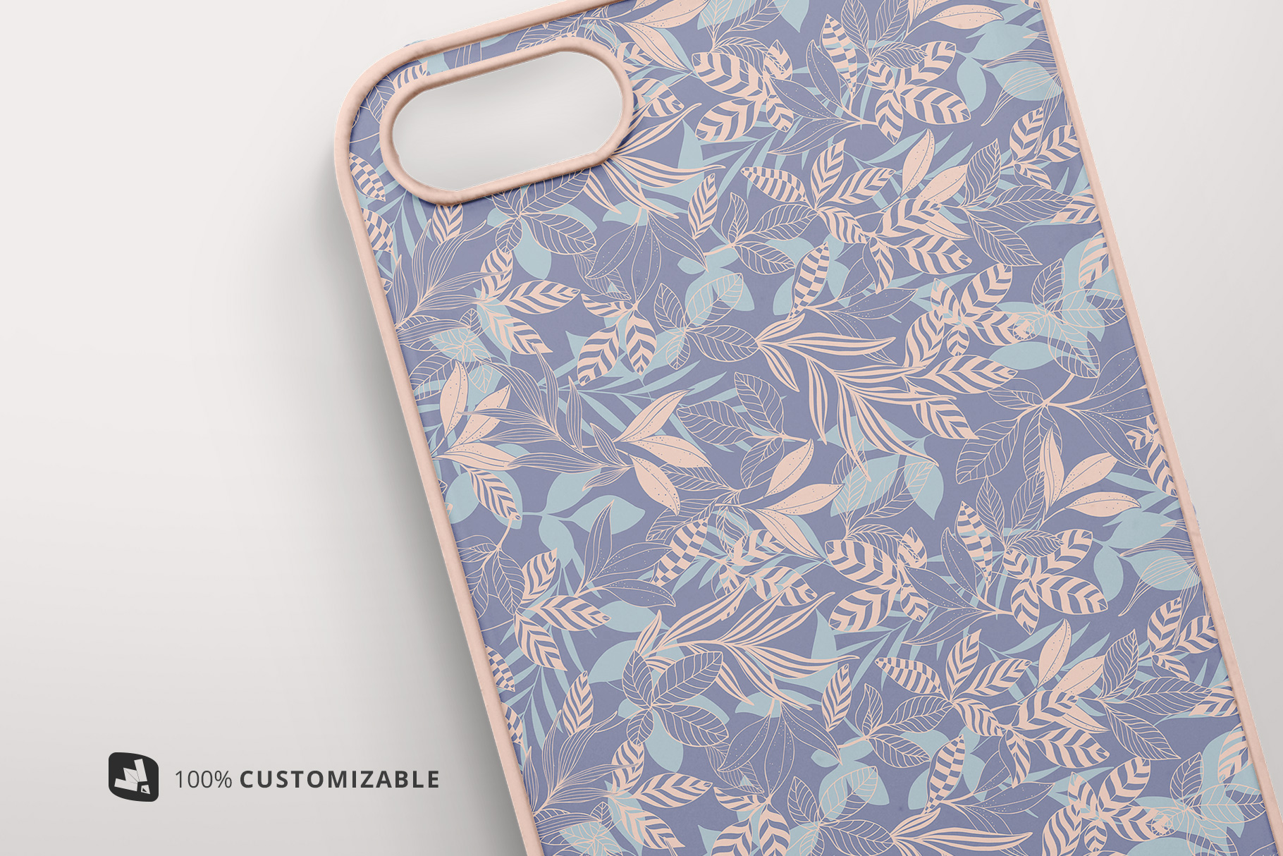 zoomed in image of the top view phone case mockup