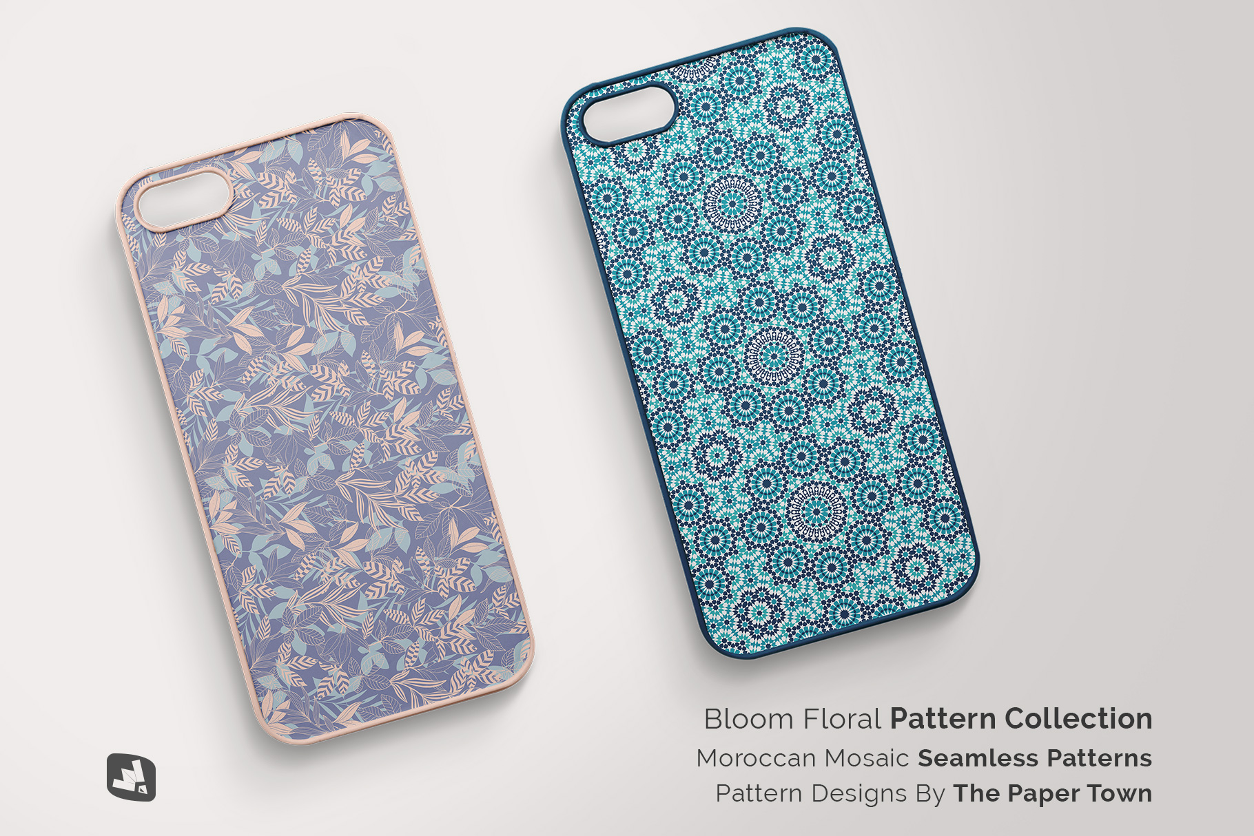 designer's credit of the top view phone case mockup