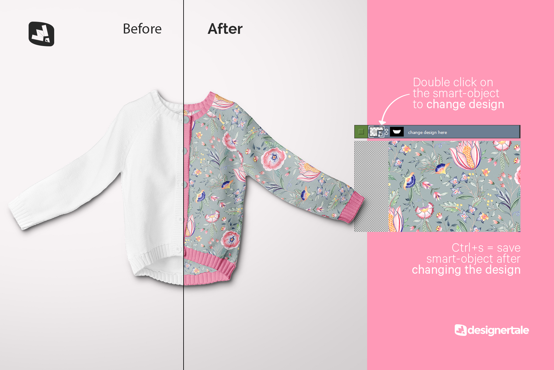how to change design of the top view baby sweater mockup
