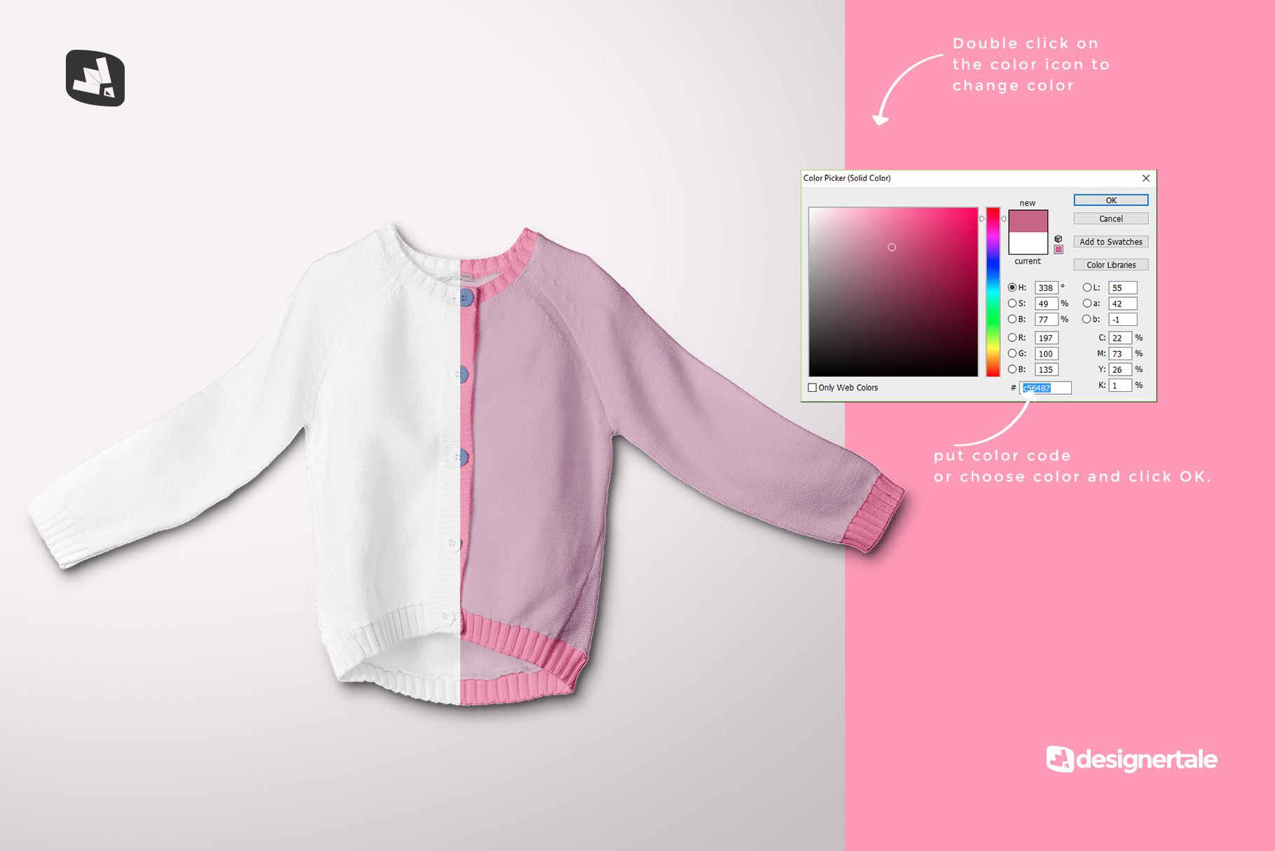 how to change color of the top view baby sweater mockup