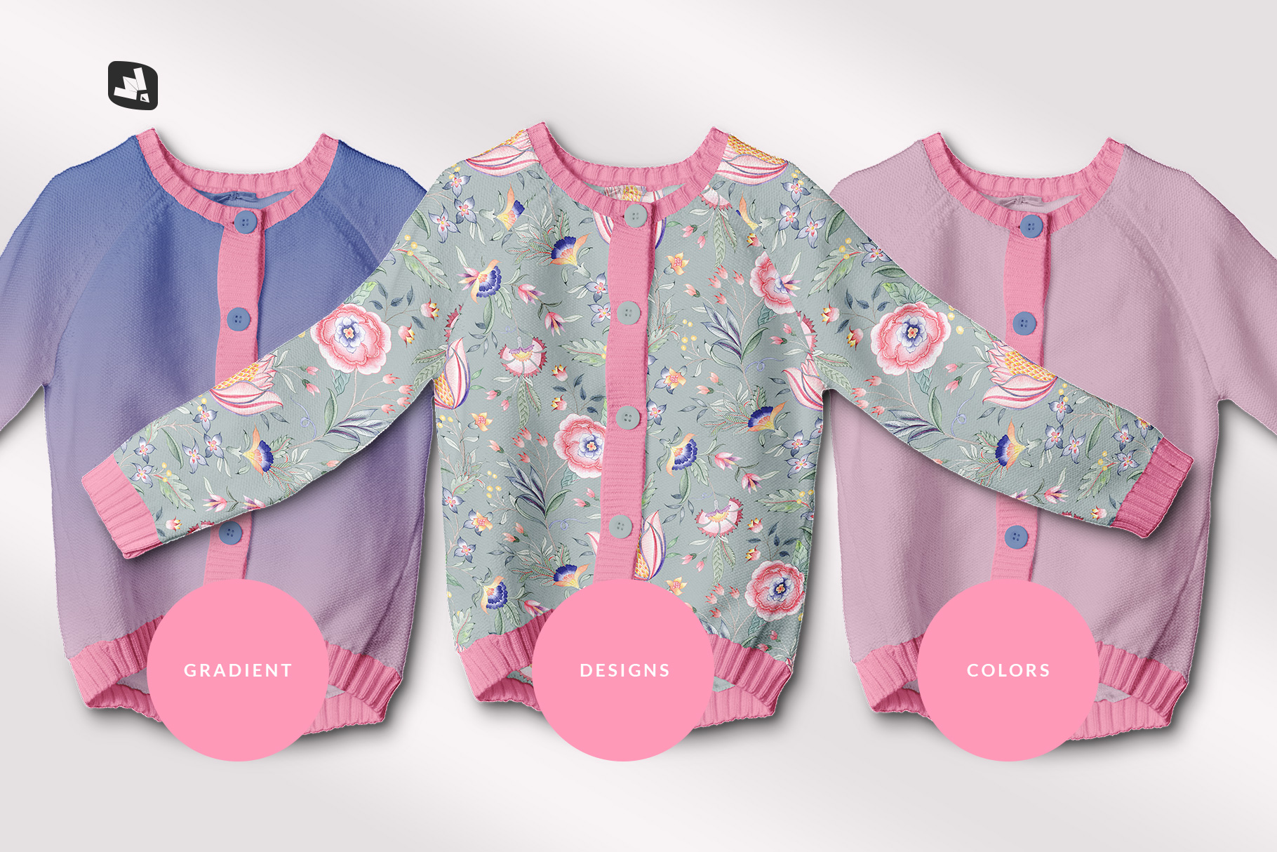 types of the top view baby sweater mockup