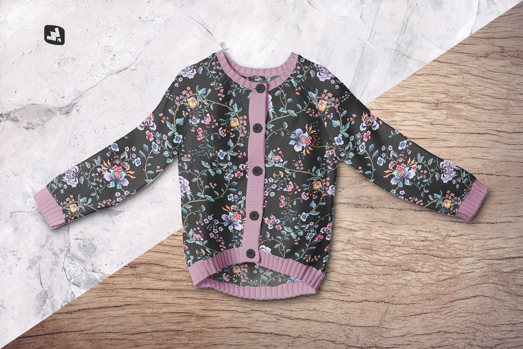 background options of the top view baby sweater mockup