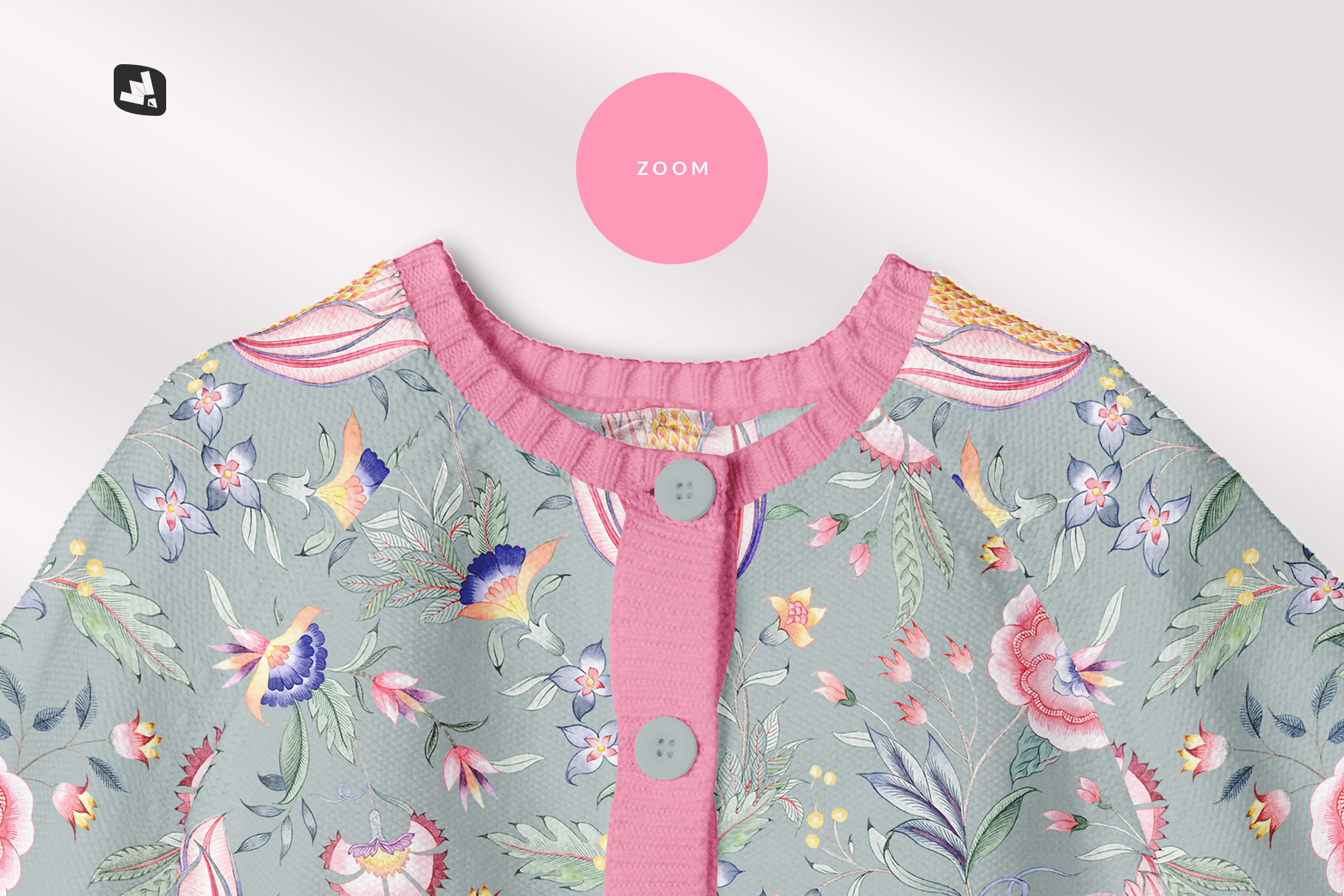 zoomed in image of the top view baby sweater mockup