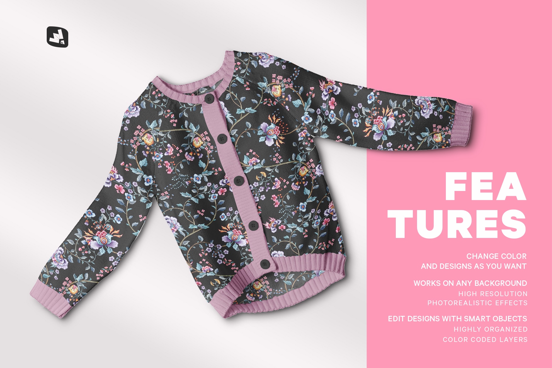 features of the top view baby sweater mockup