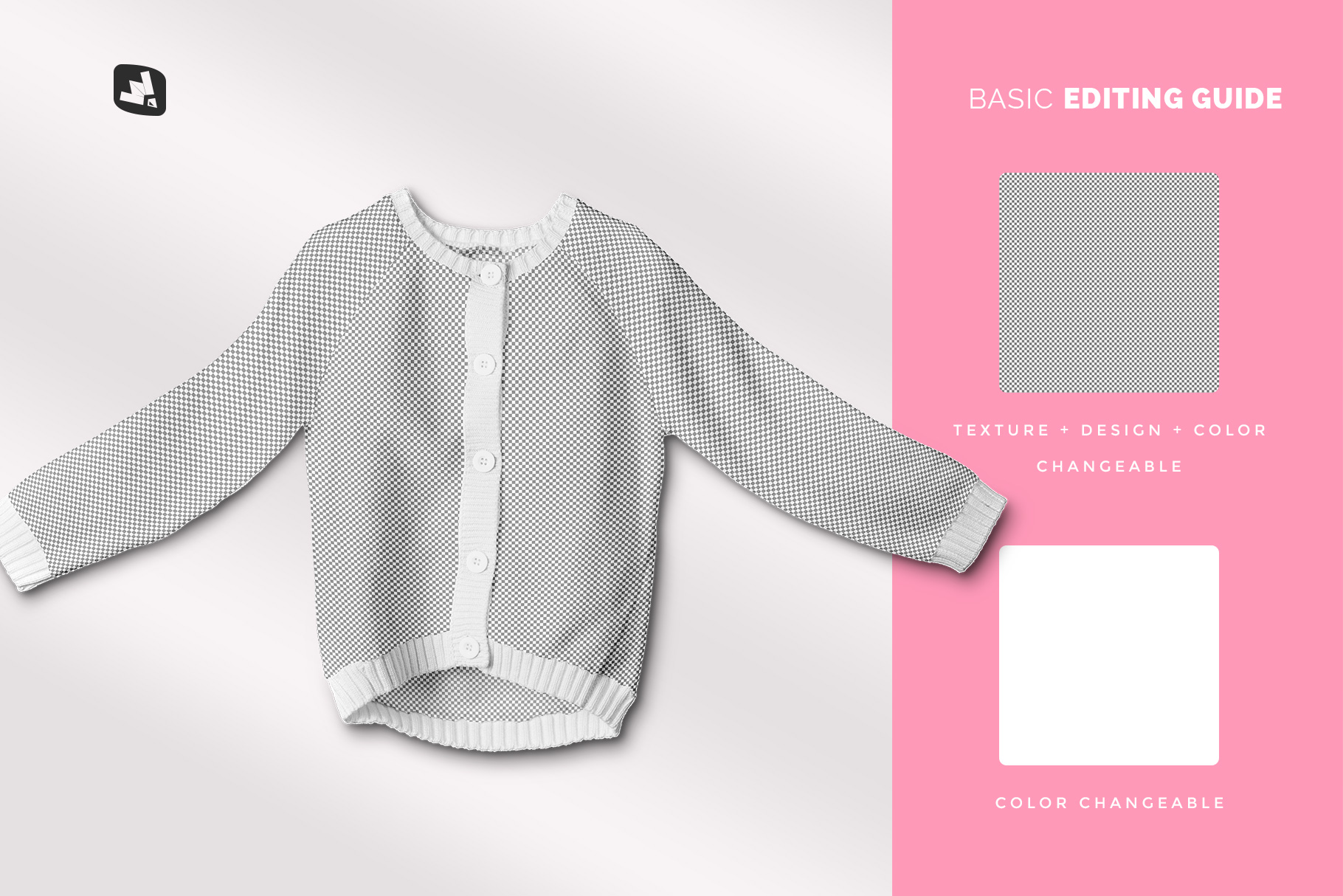 editability of the top view baby sweater mockup