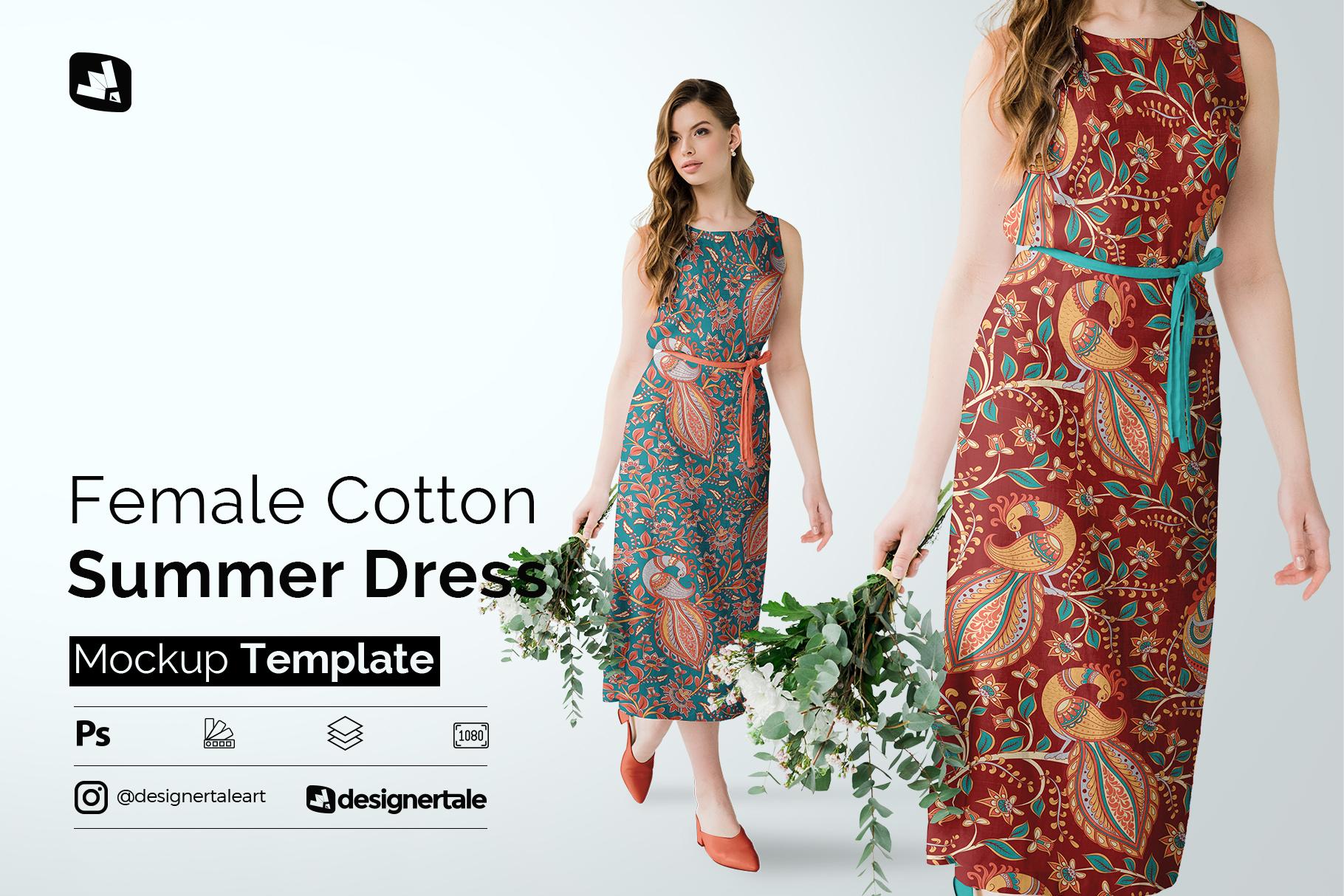 female cotton summer dress mockup
