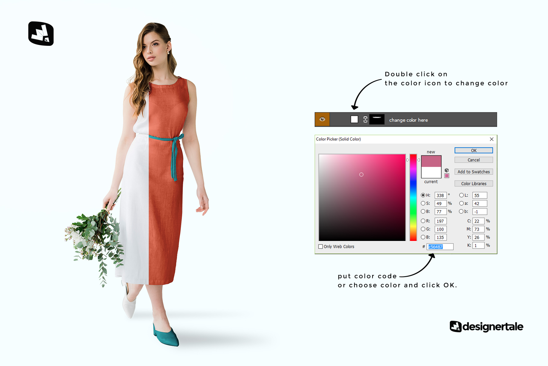 how to change color of the female cotton summer dress mockup
