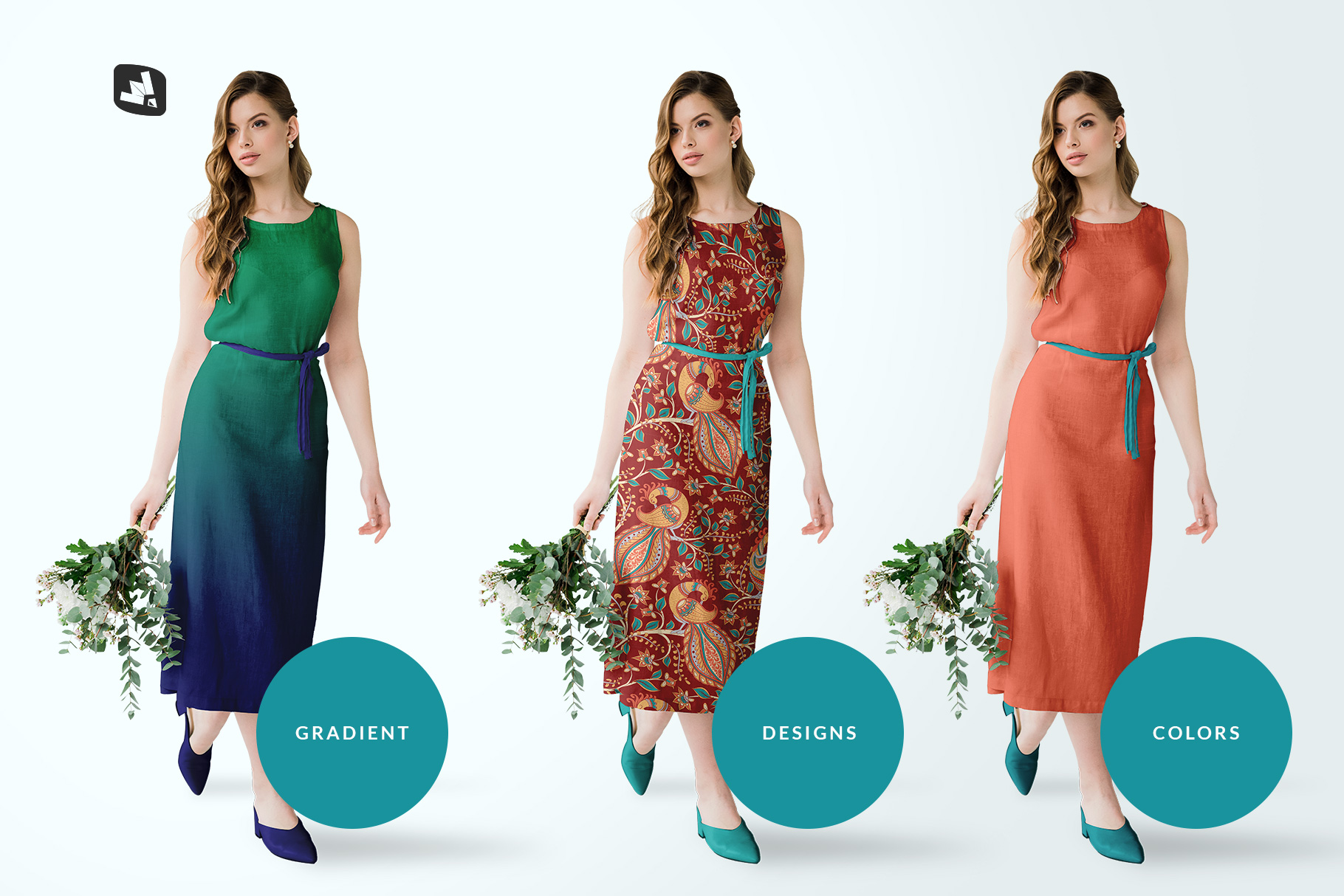 types of the female cotton summer dress mockup