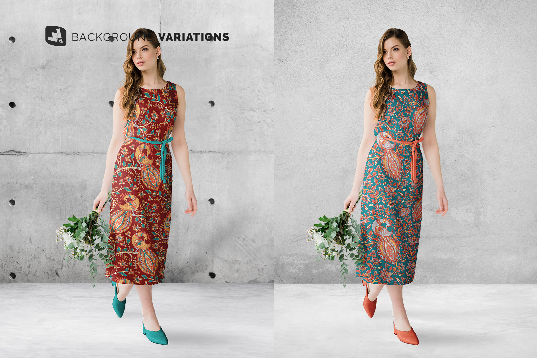 background options of the female cotton summer dress mockup