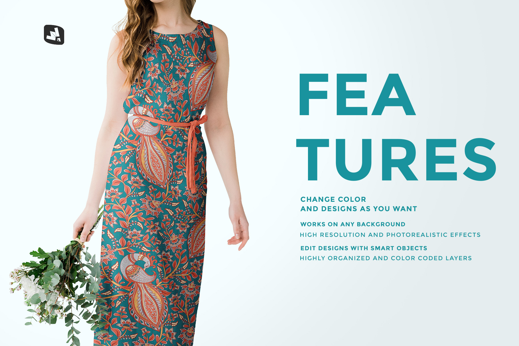 features of the female cotton summer dress mockup