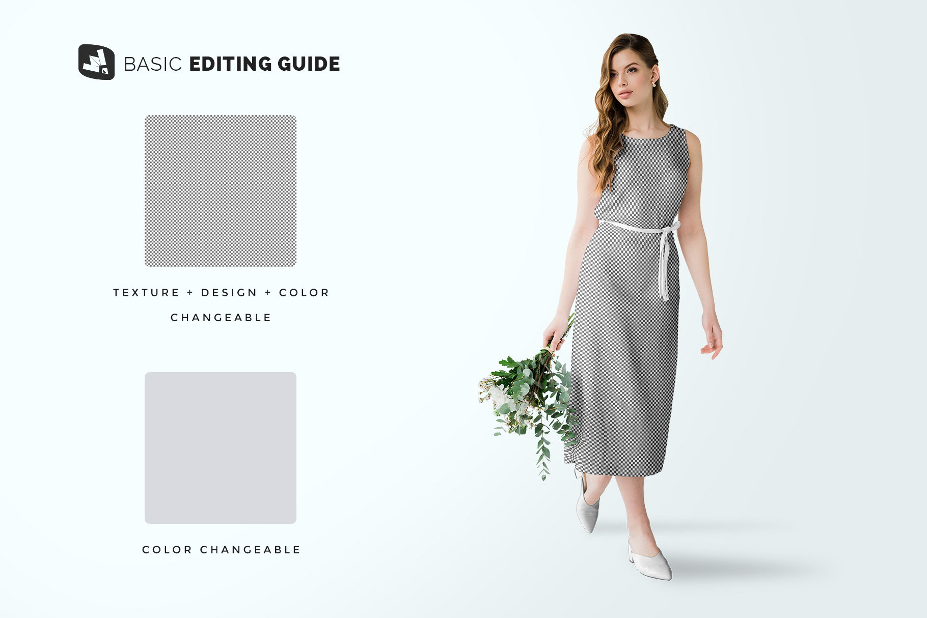 editability of the female cotton summer dress mockup