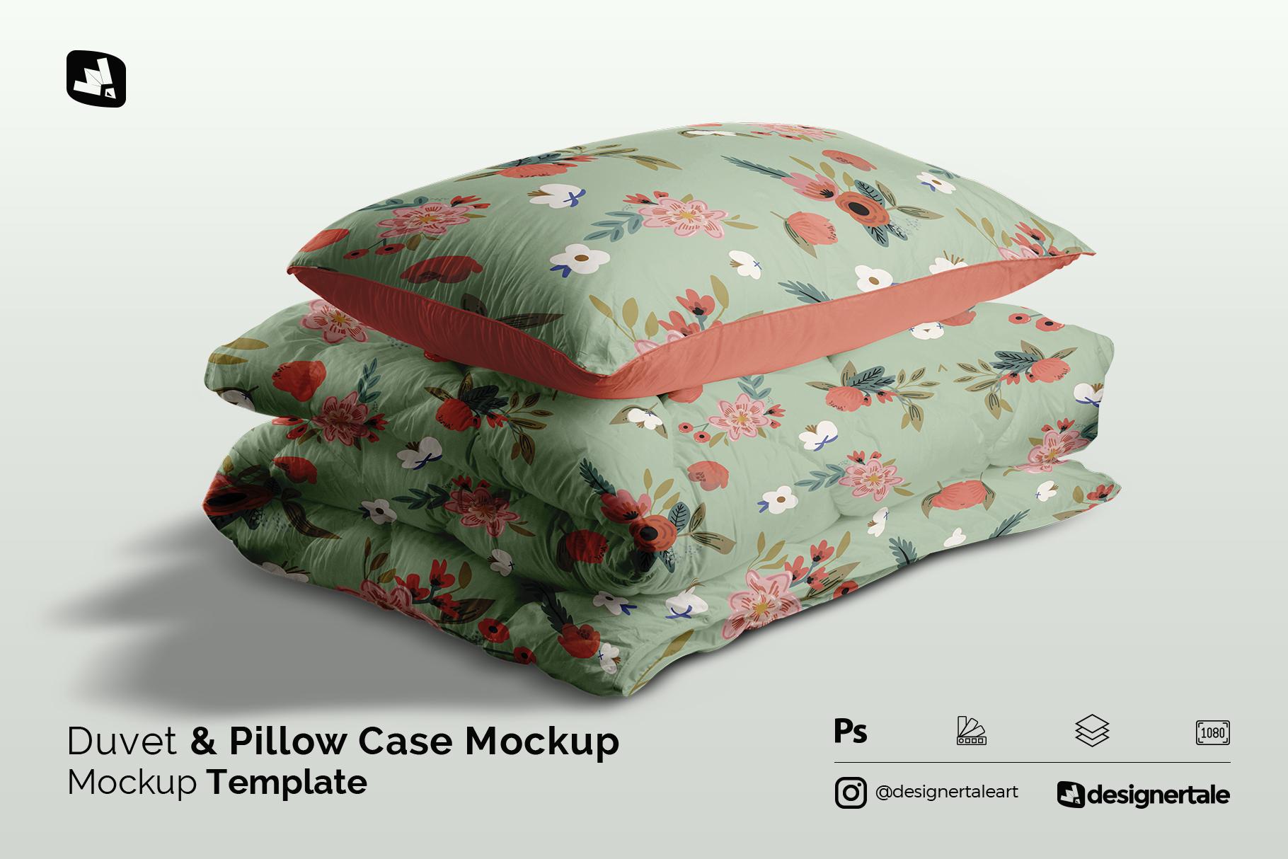 duvet & pillow case mockup