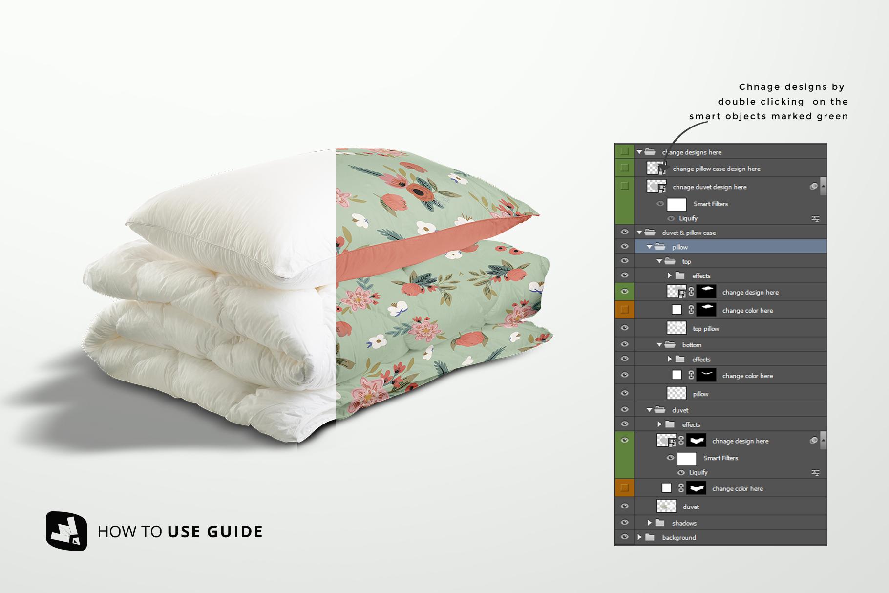 how to change design of the duvet & pillow case mockup