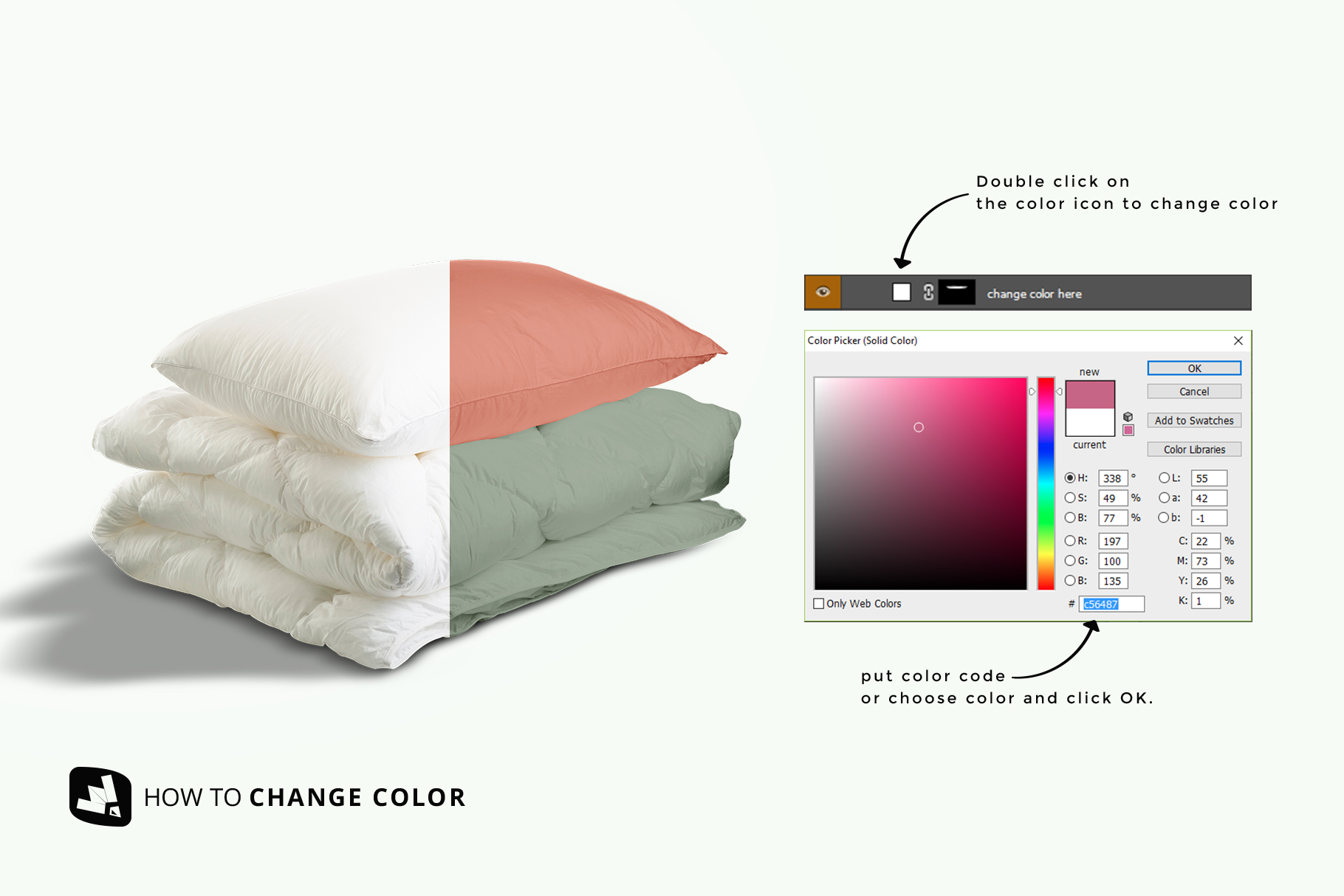 how to change color of the duvet & pillow case mockup