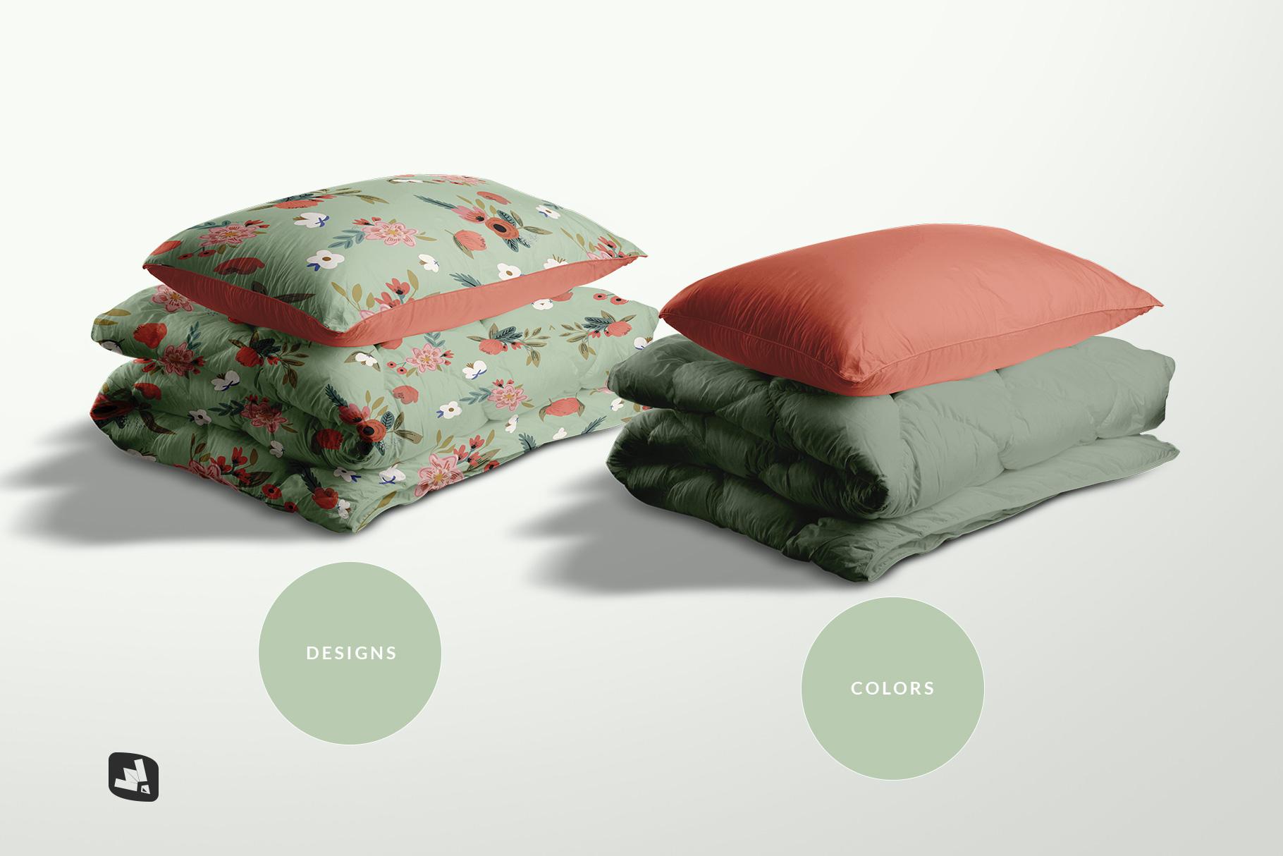 types of the duvet & pillow case mockup