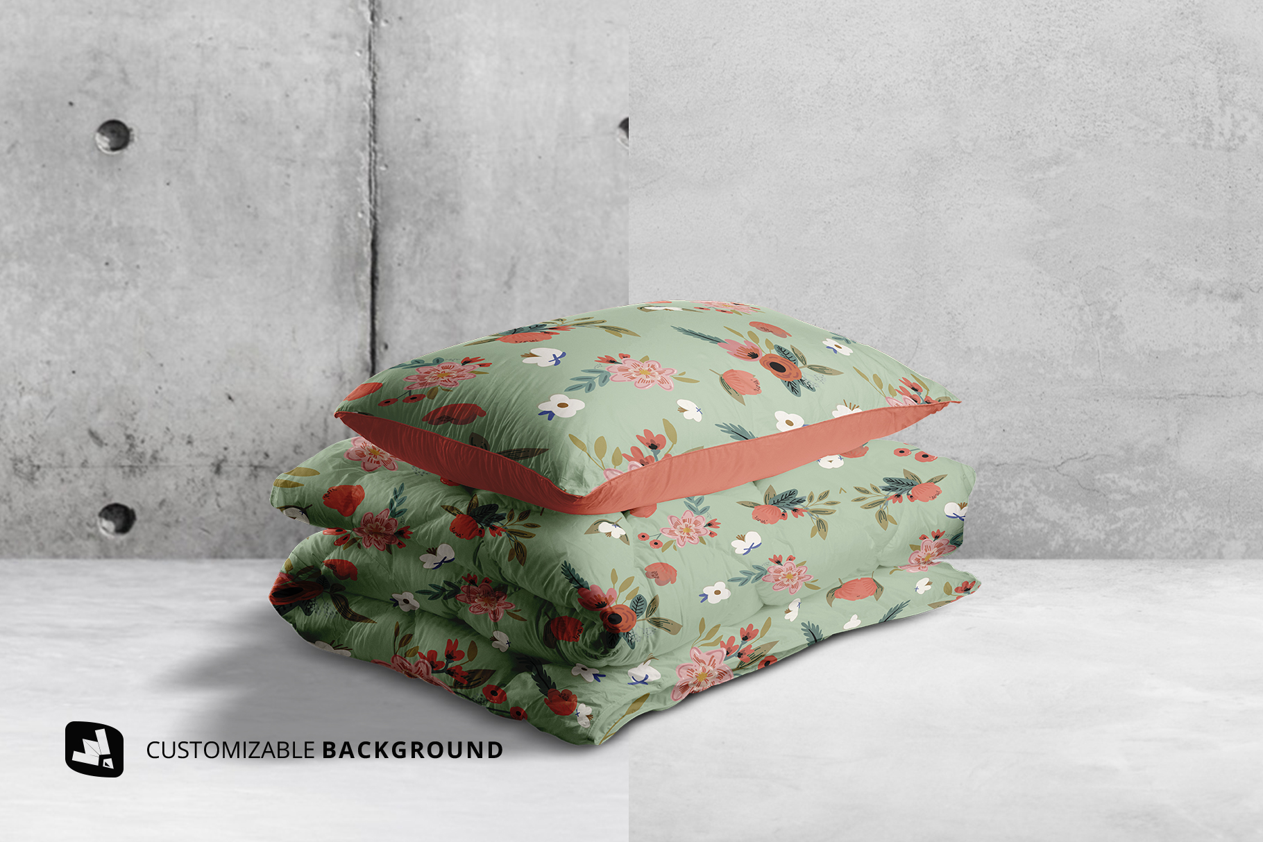 background options of the duvet & pillow case mockup