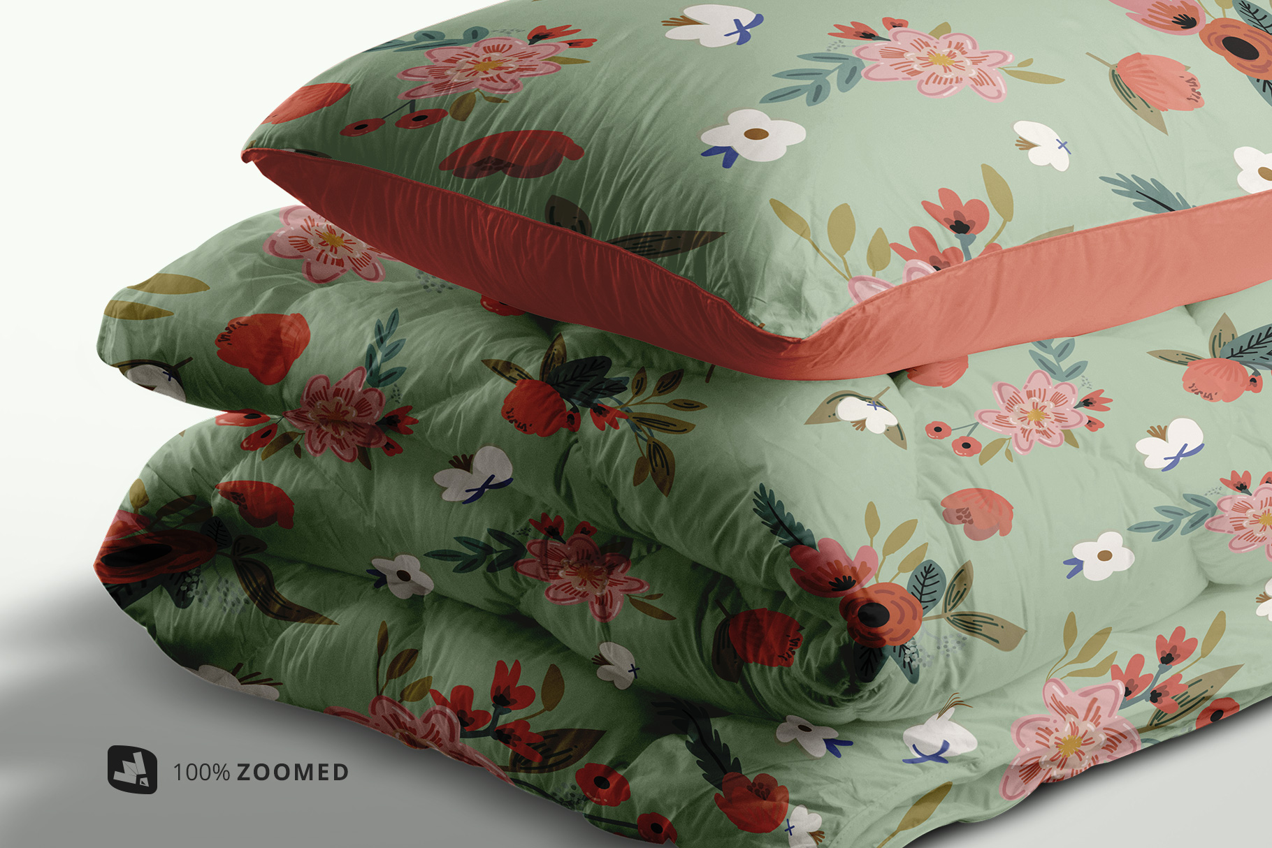 zoomed in image of the duvet & pillow case mockup