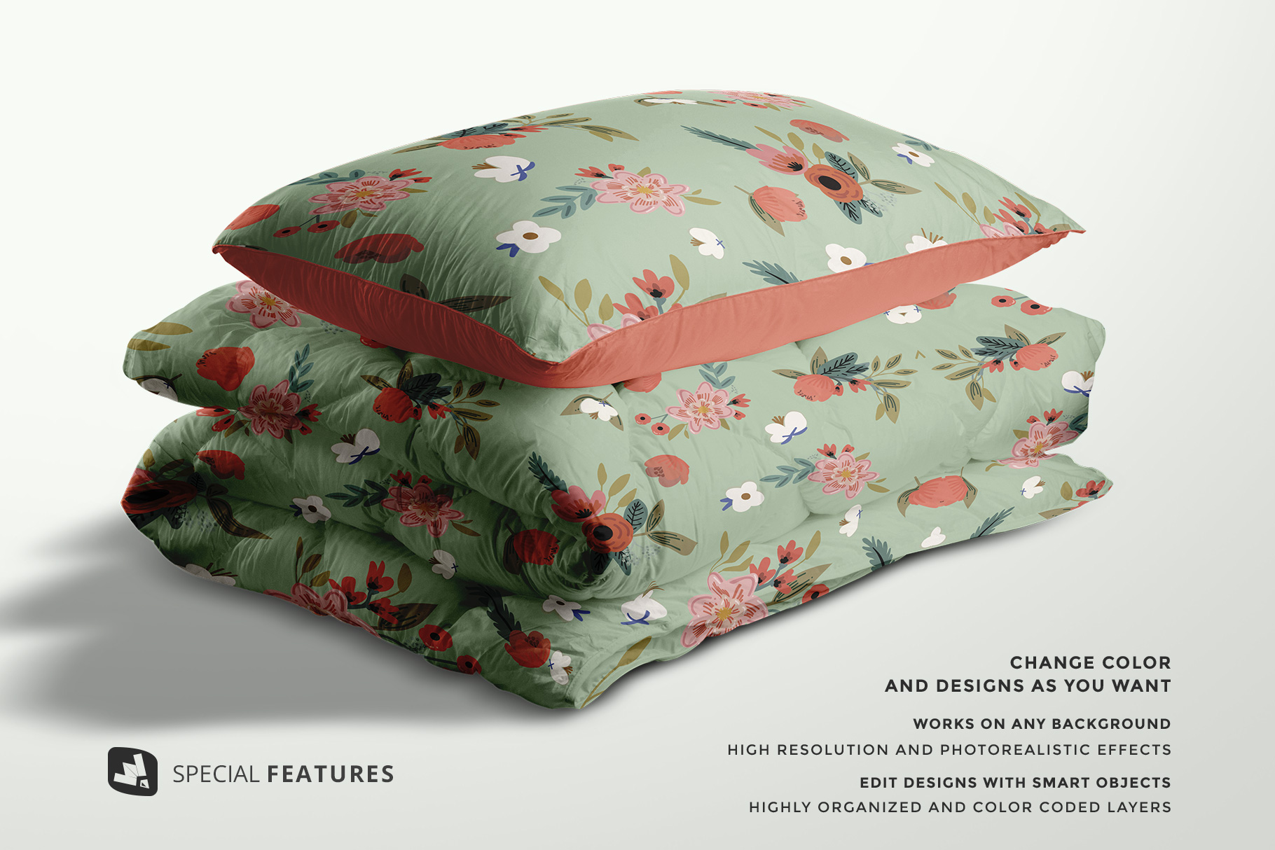special features of the duvet & pillow case mockup