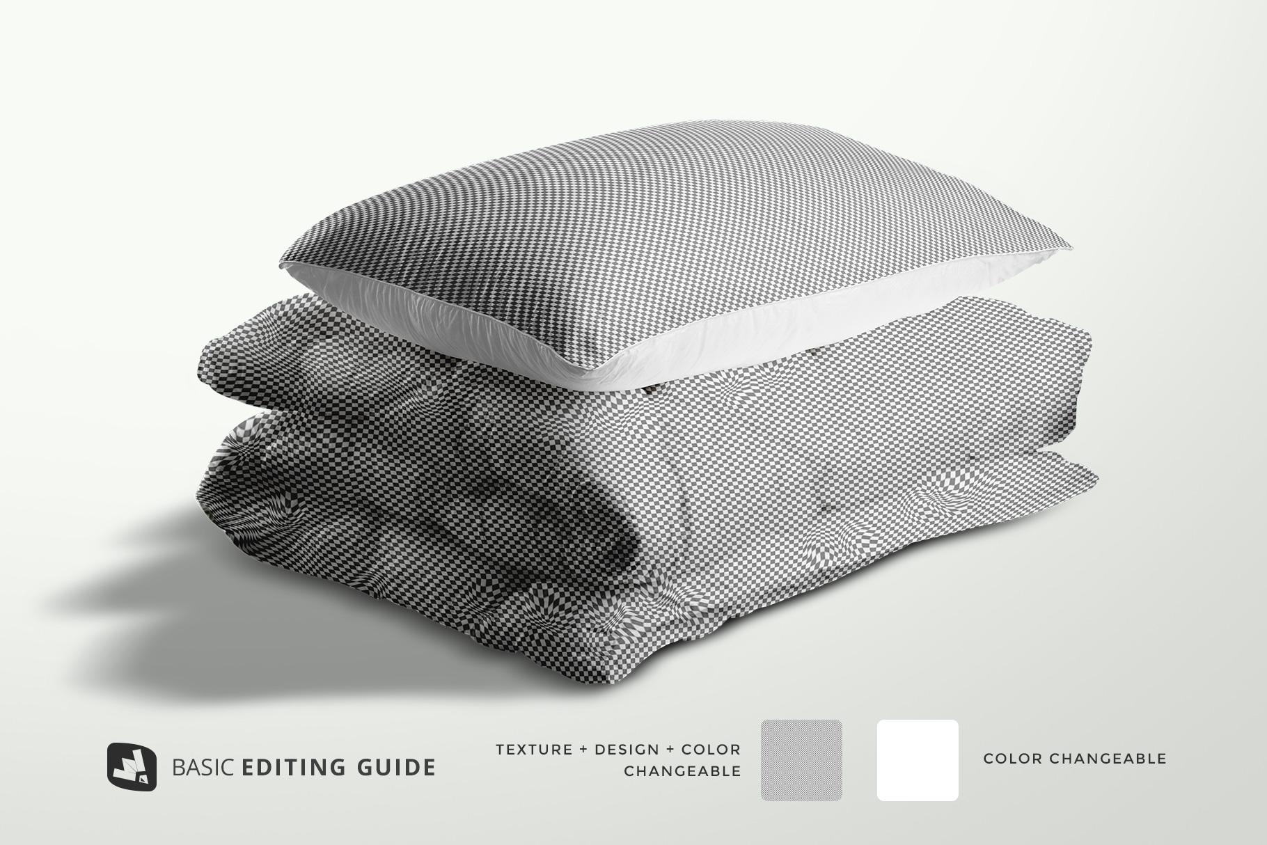 editability of the duvet & pillow case mockup