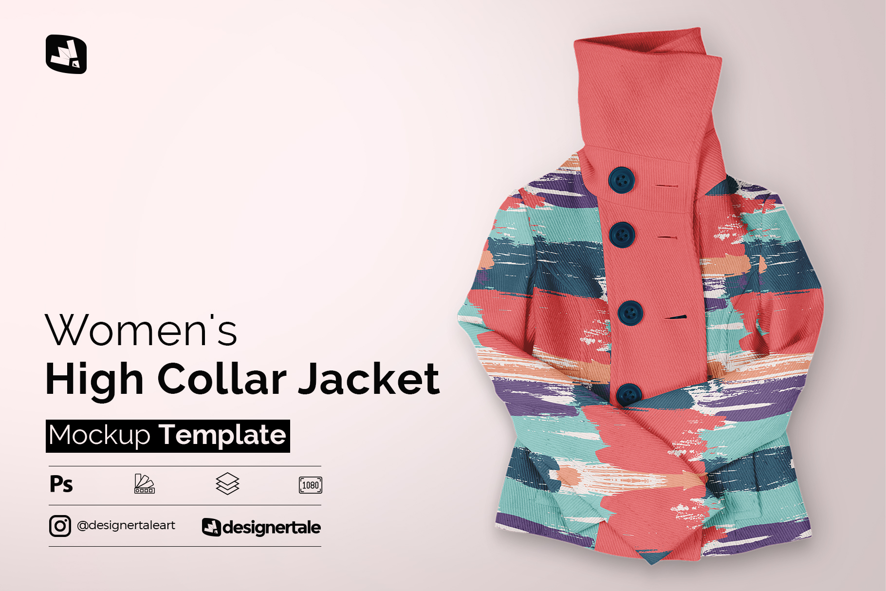 women's high collar jacket mockup