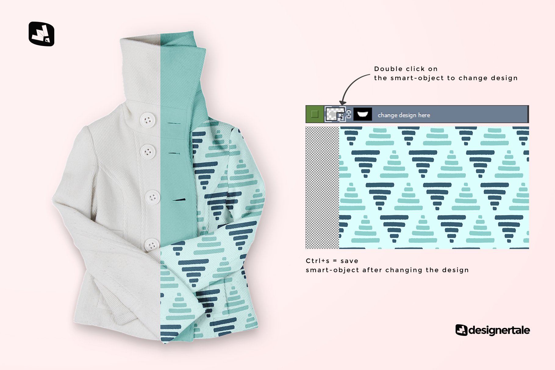 how to change design of the women's high collar jacket mockup