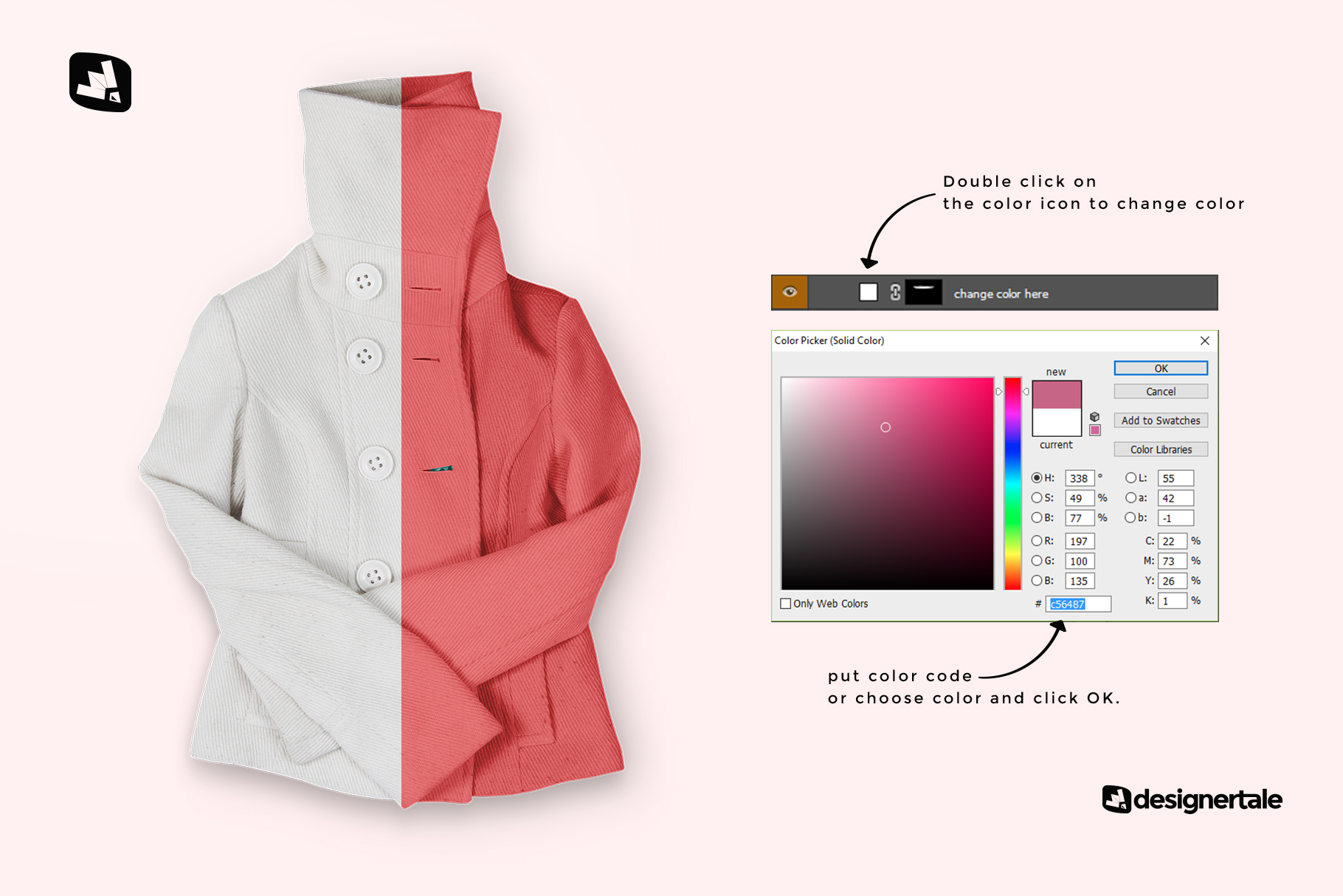 how to change color of the women's high collar jacket mockup