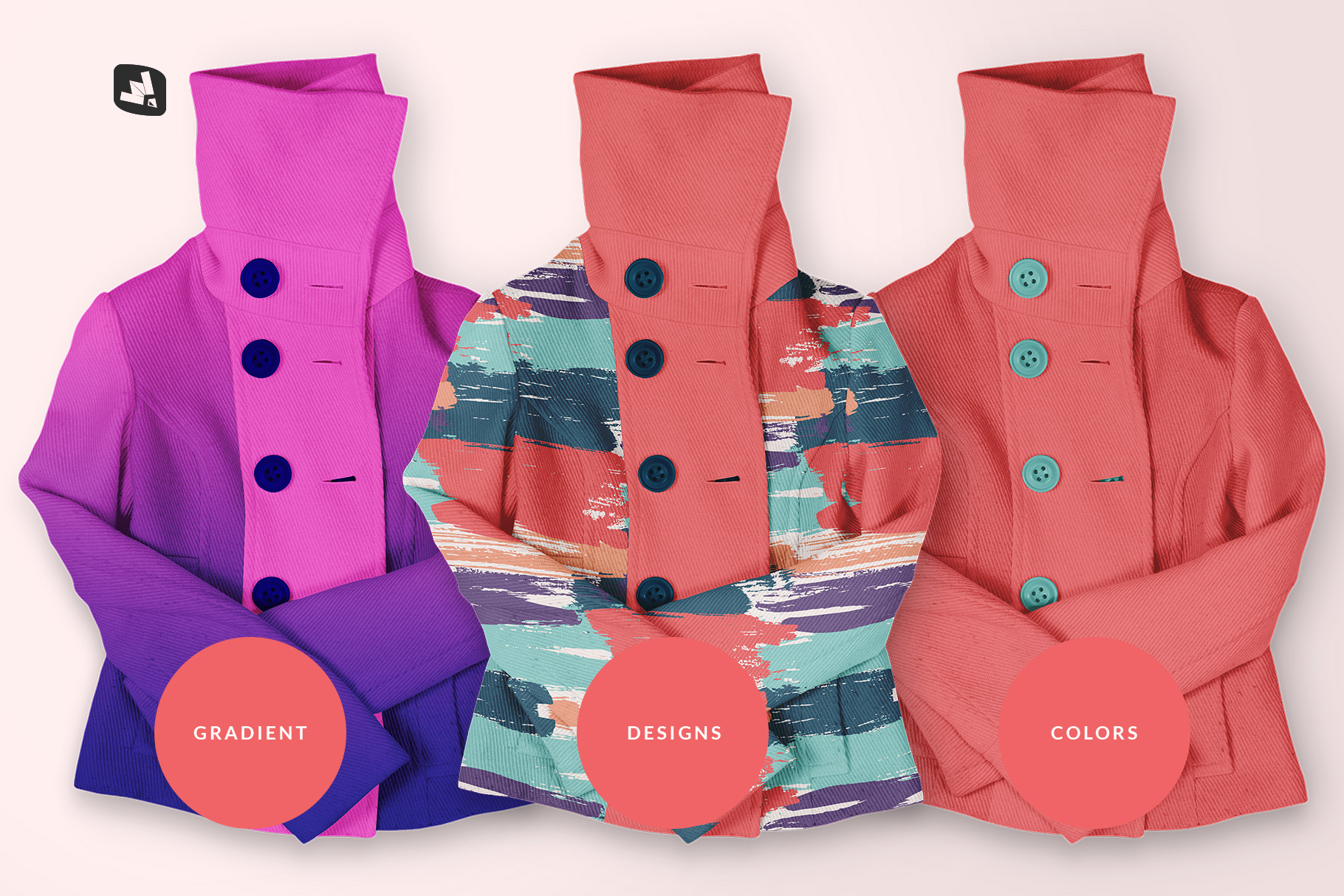types of the women's high collar jacket mockup