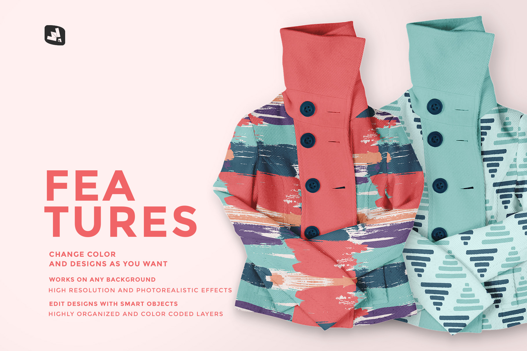 features of the women's high collar jacket mockup