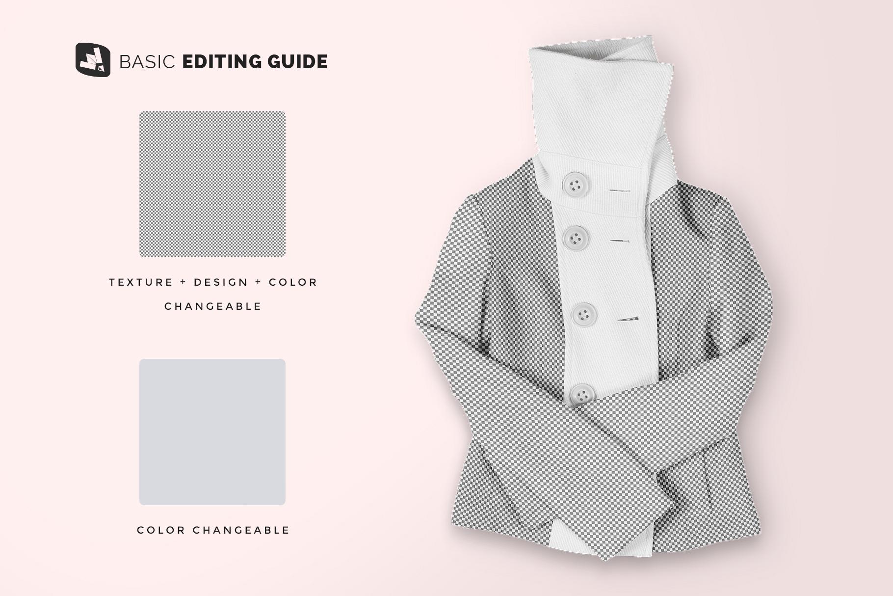 editability of the women's high collar jacket mockup