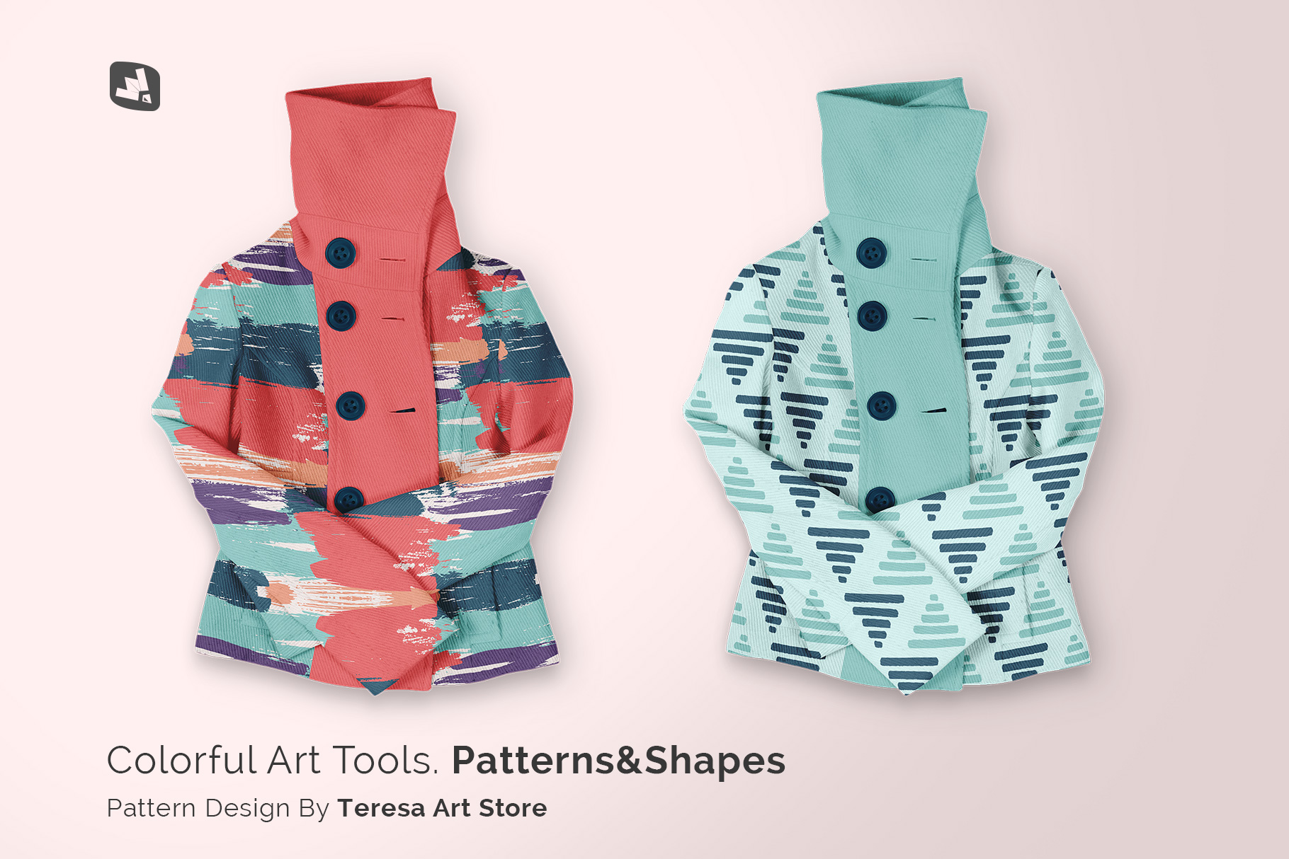 designer's credit of the women's high collar jacket mockup