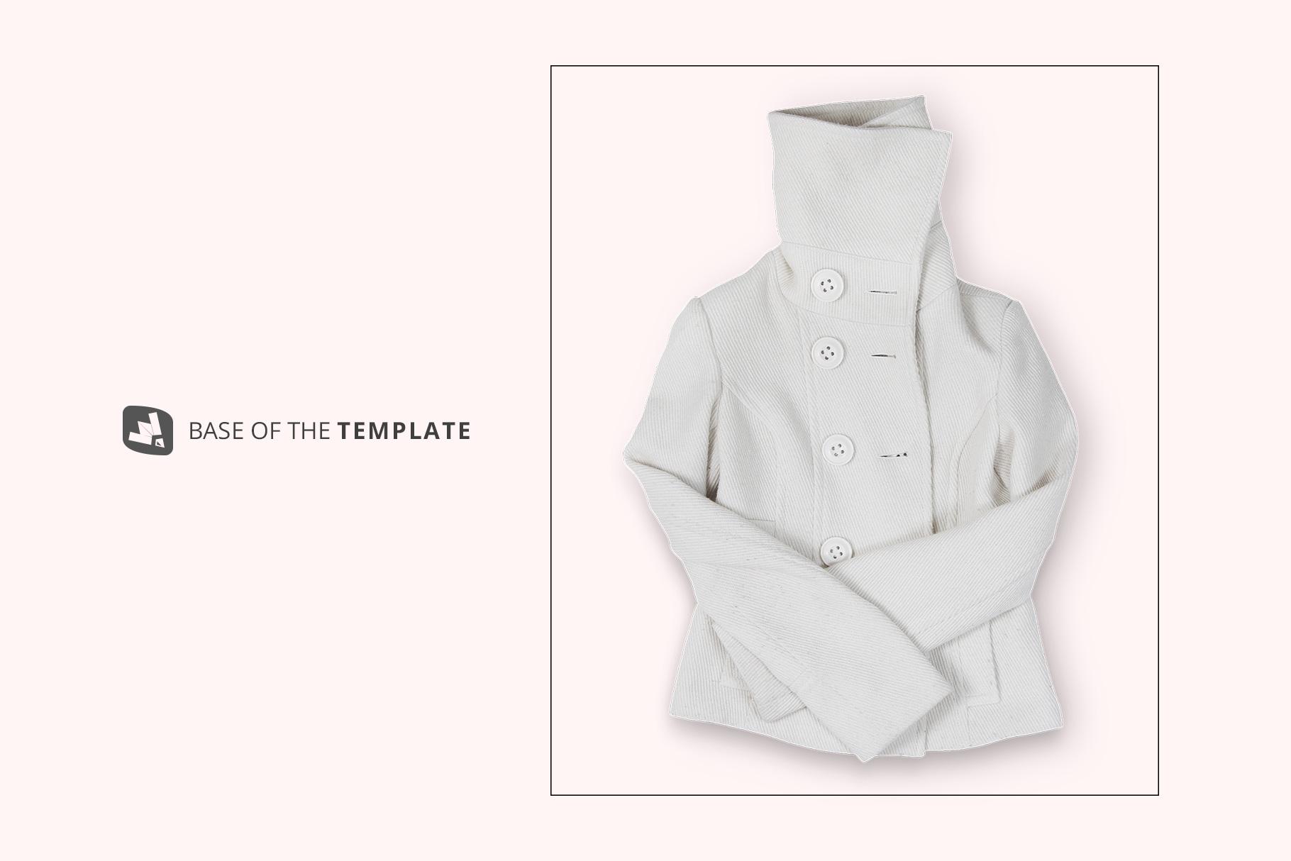 base image of the women's high collar jacket mockup