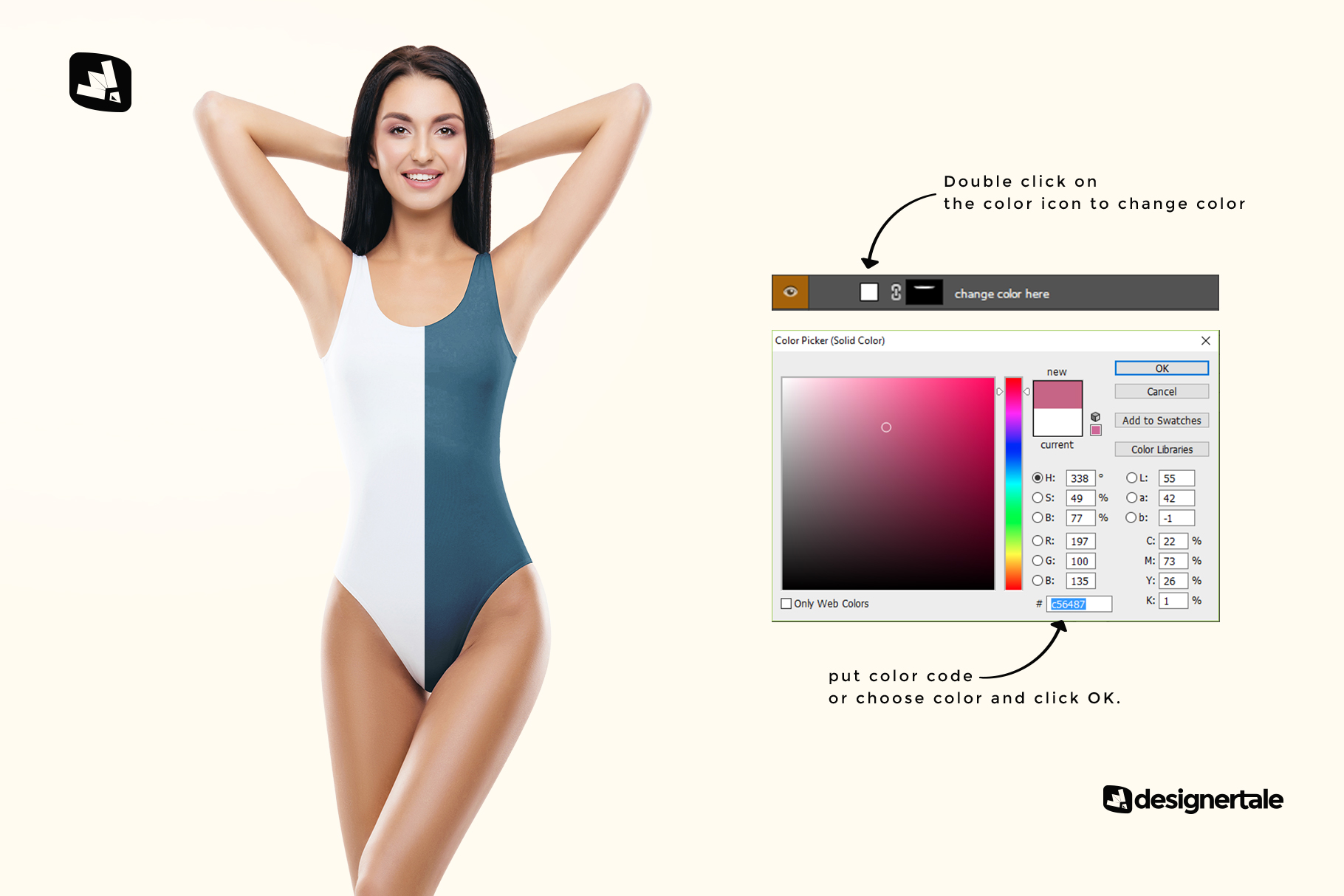 how to chanhe color of the women's swimsuit mockup