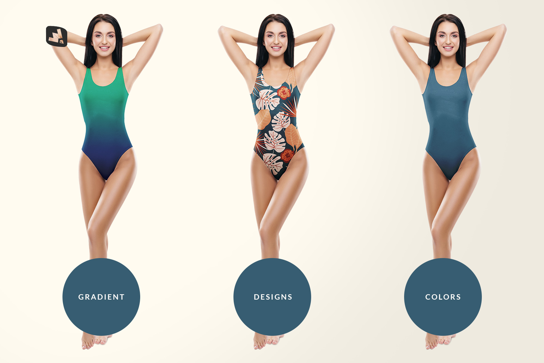types of the women's swimsuit mockup