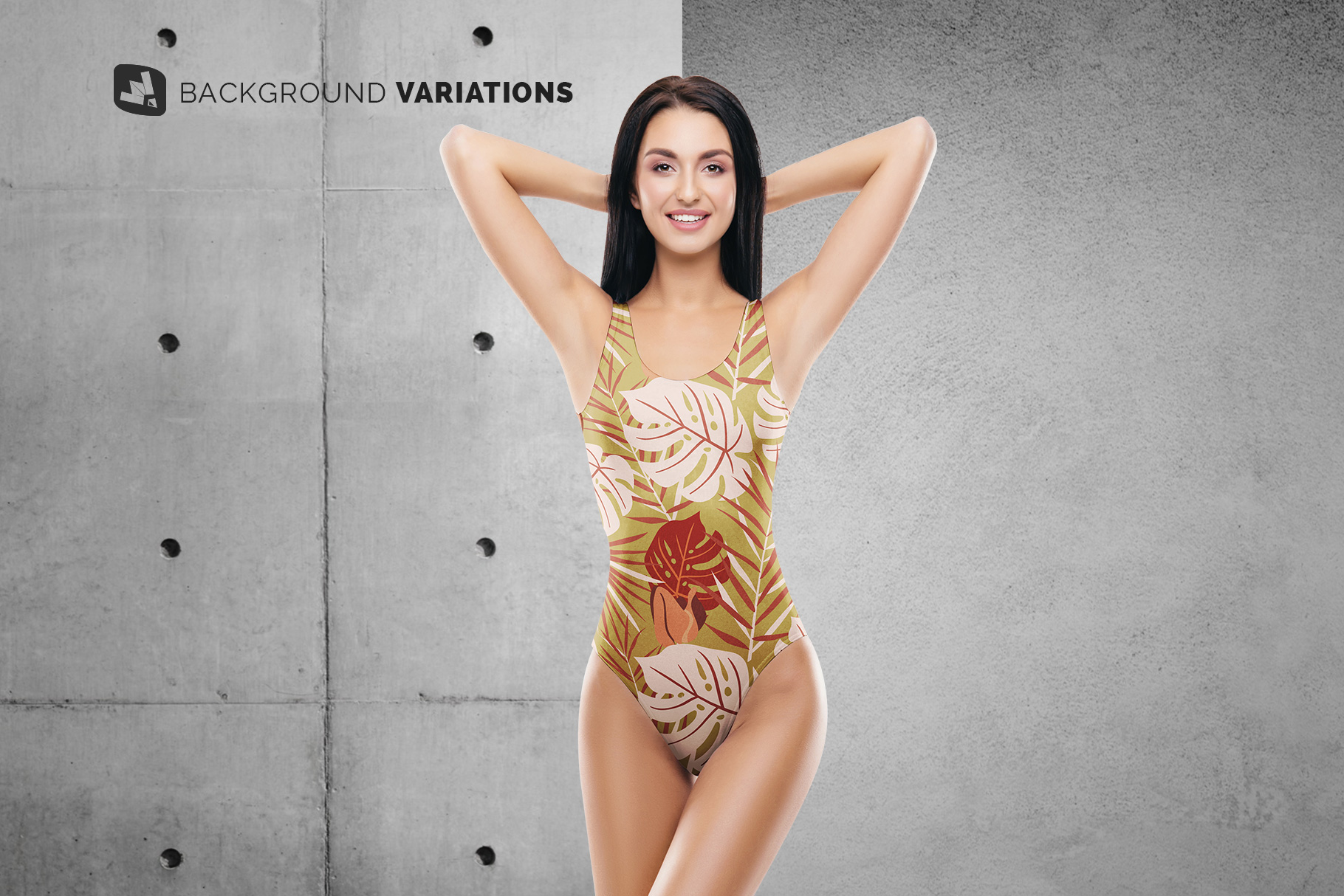 background options of the women's swimsuit mockup