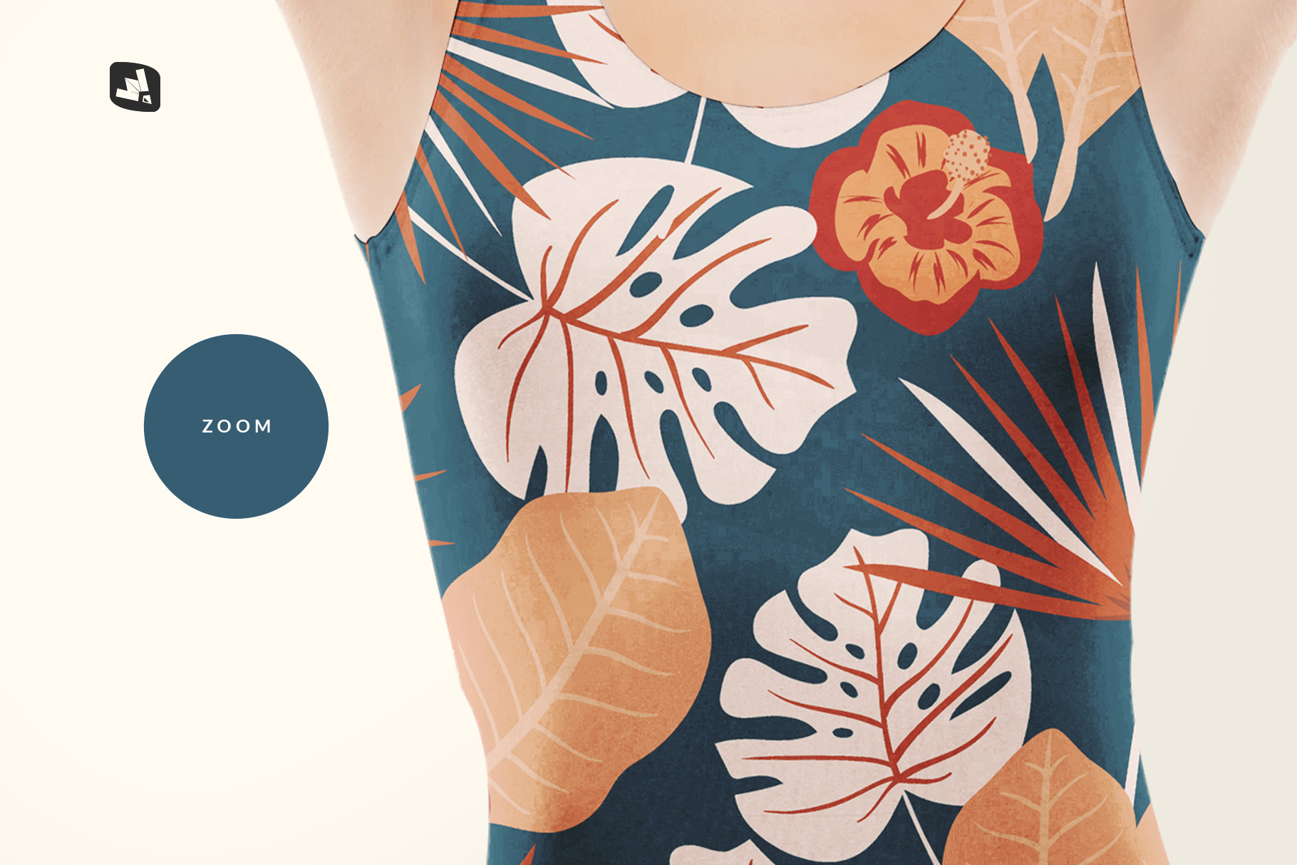 zoomed in image of the women's swimsuit mockup