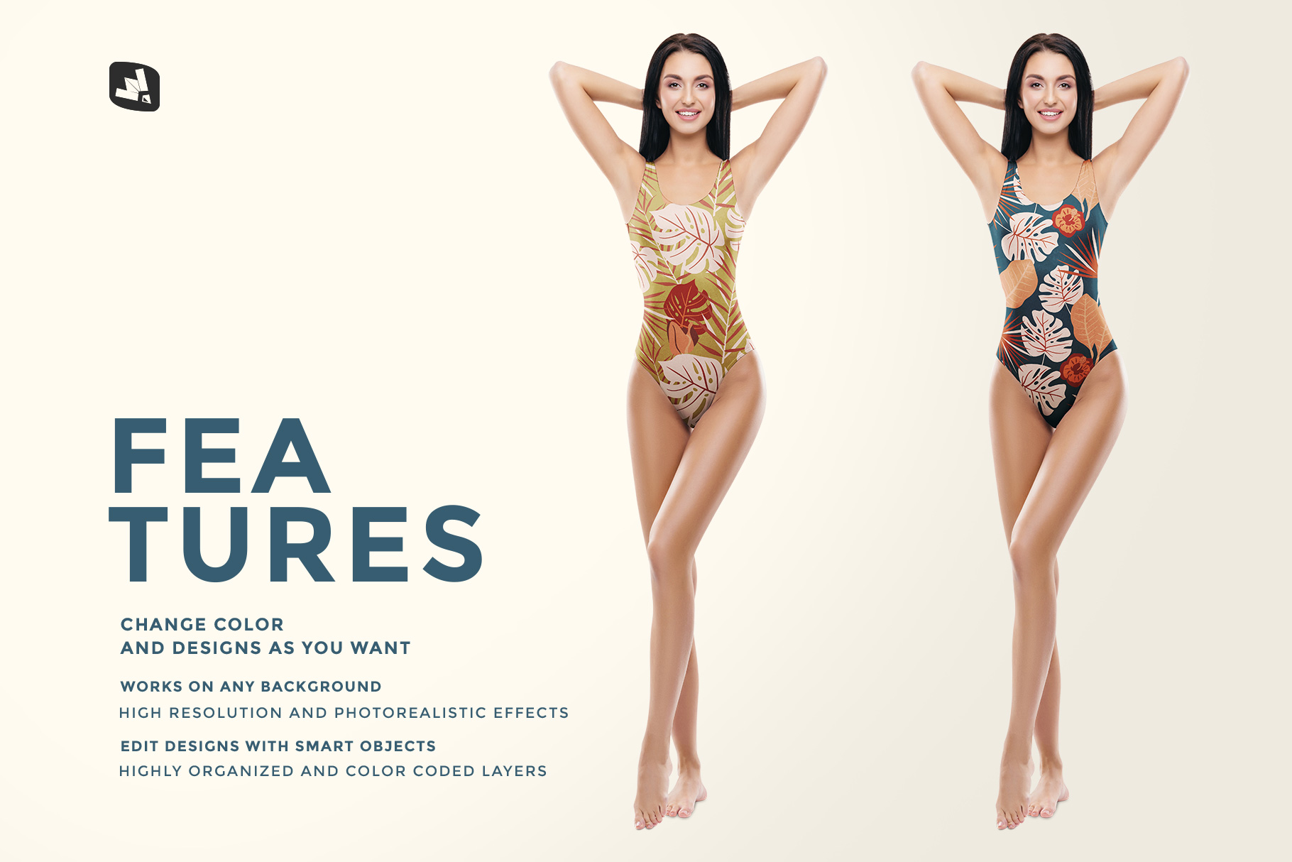 features of the women's swimsuit mockup