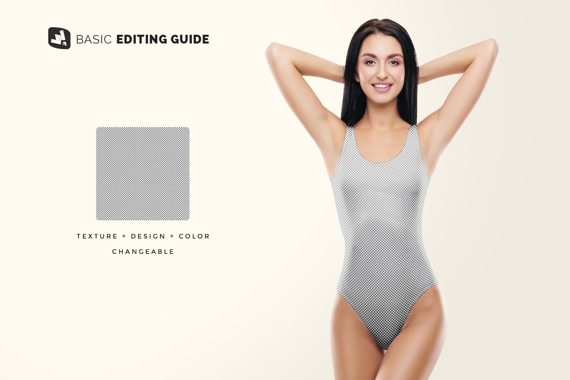 editability of the women's swimsuit mockup