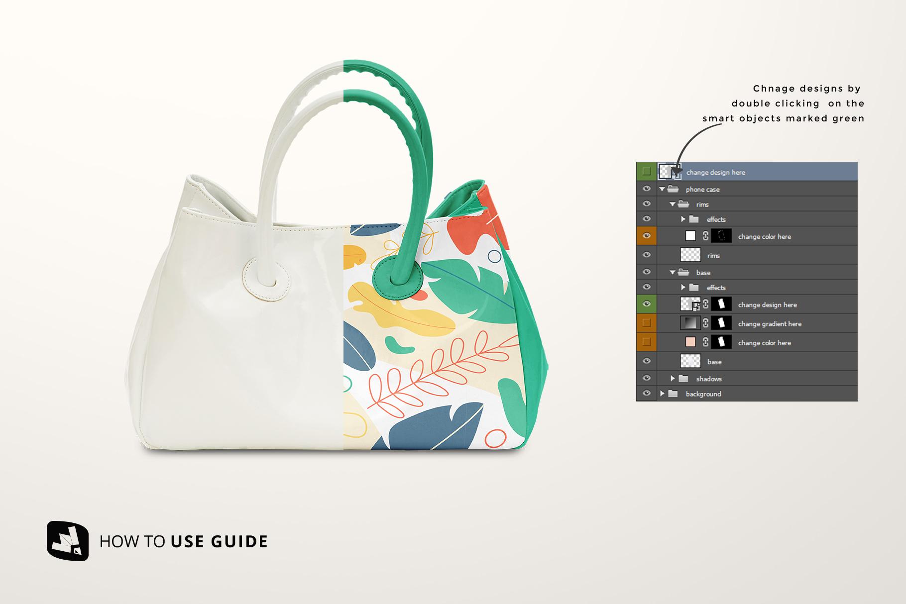 how to change design of female handbag mockupthe
