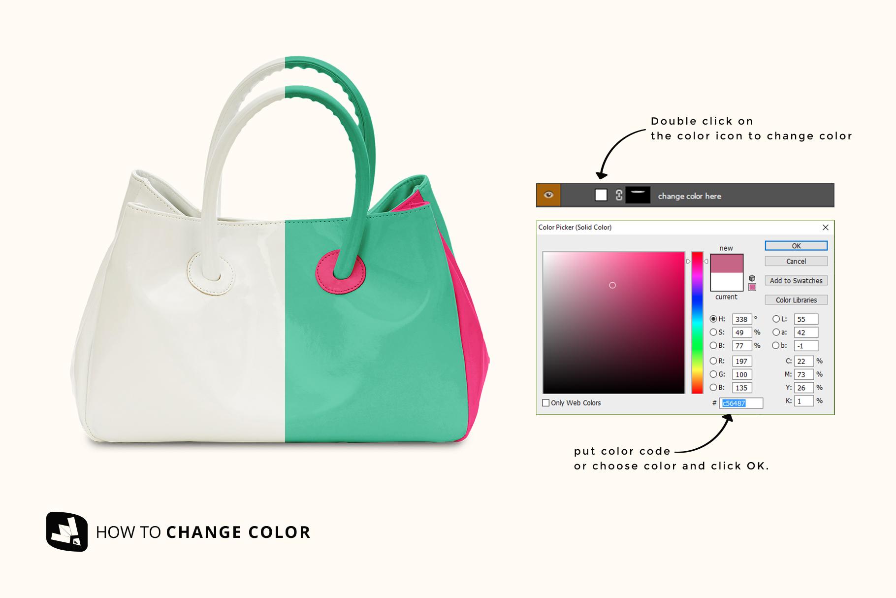 how to change color of the female handbag mockup
