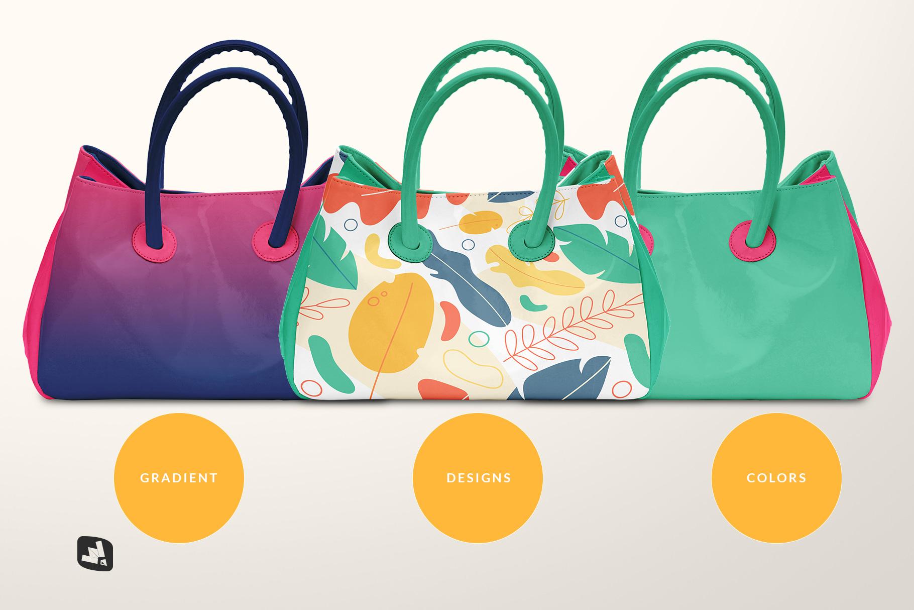 types of the female handbag mockup