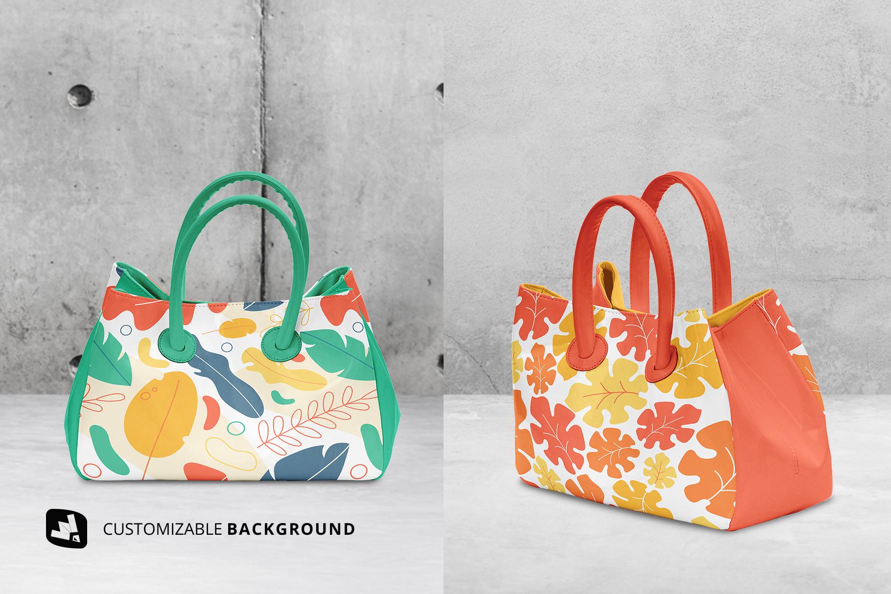 background options of the female handbag mockup