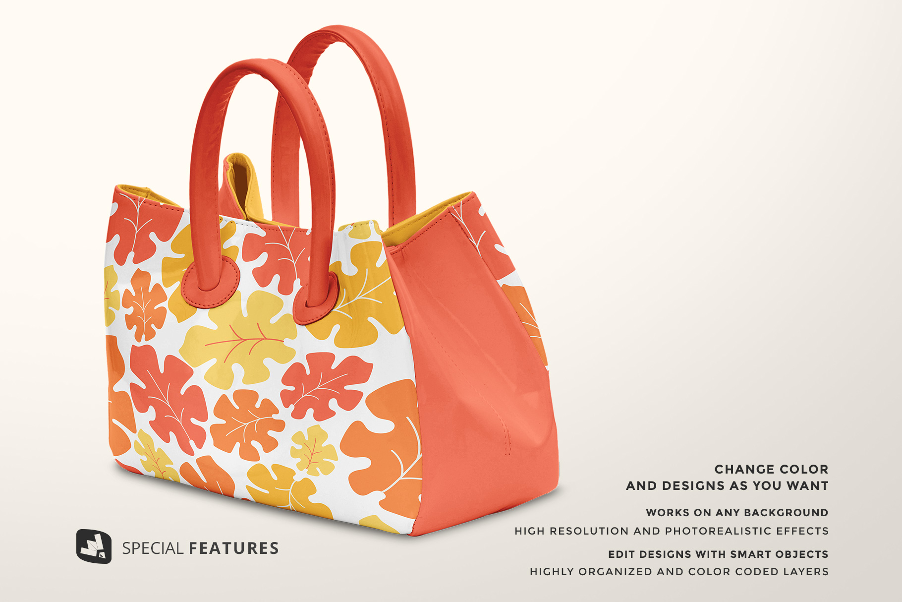 special features of the female handbag mockup
