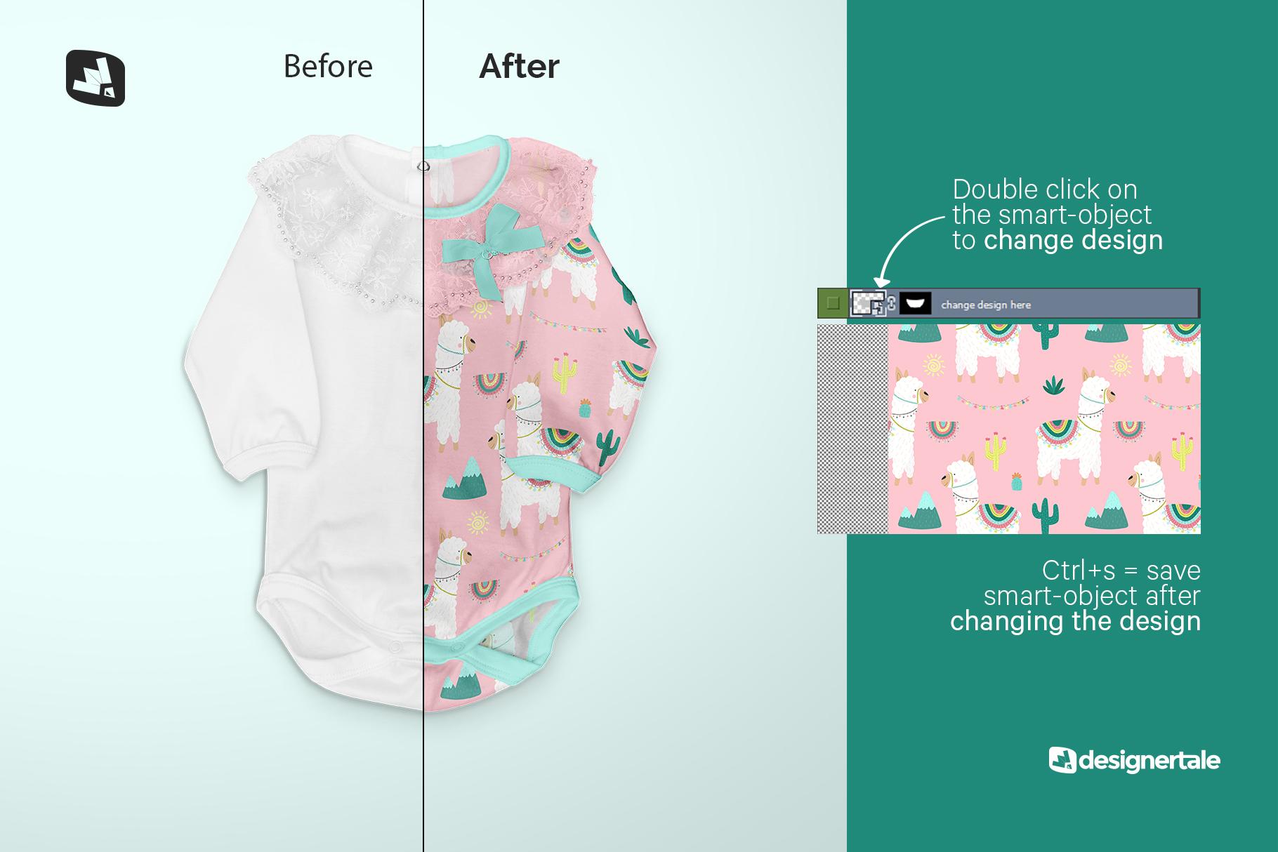 how to change design of the baby girl's onesie mockup