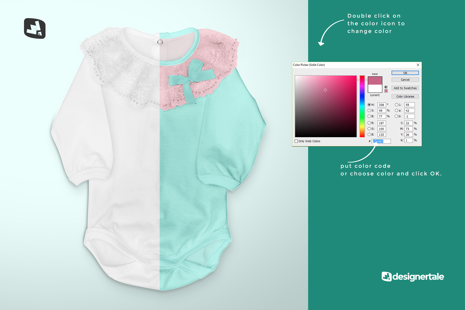 how to change color of the baby girl's onesie mockup