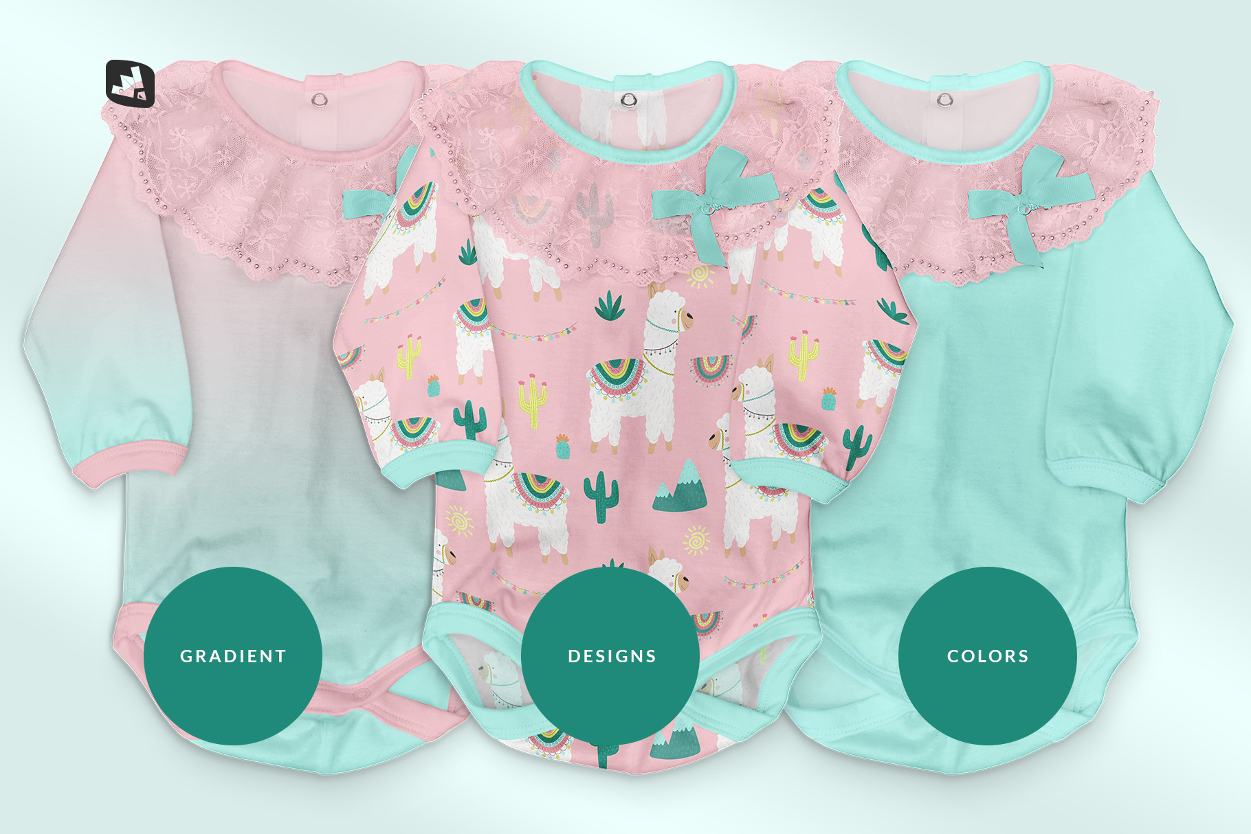 types of the baby girl's onesie mockup