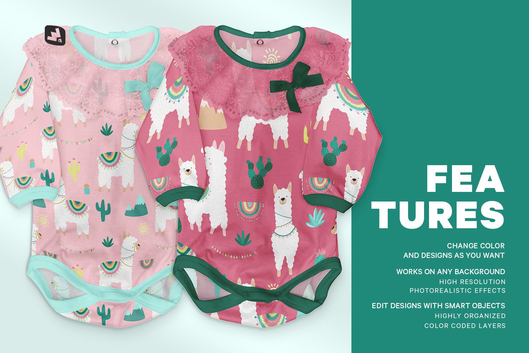 features of the baby girl's onesie mockup
