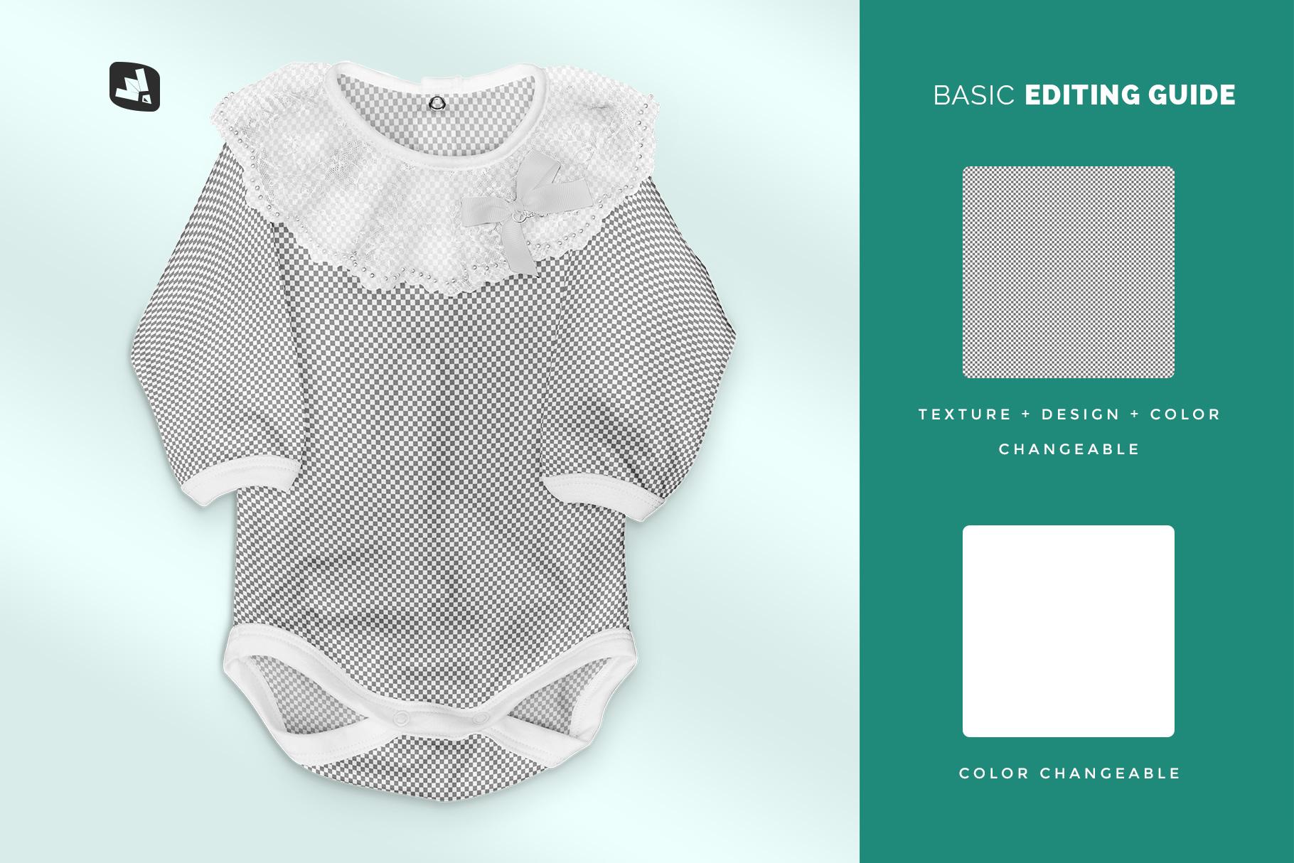 editability of the baby girl's onesie mockup