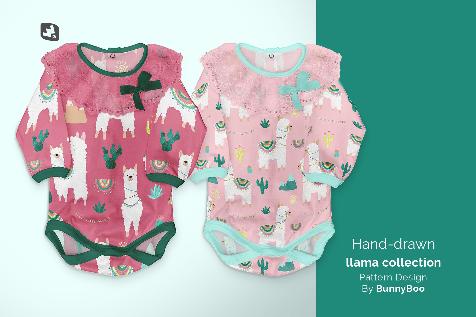 designer's credit of the baby girl's onesie mockup