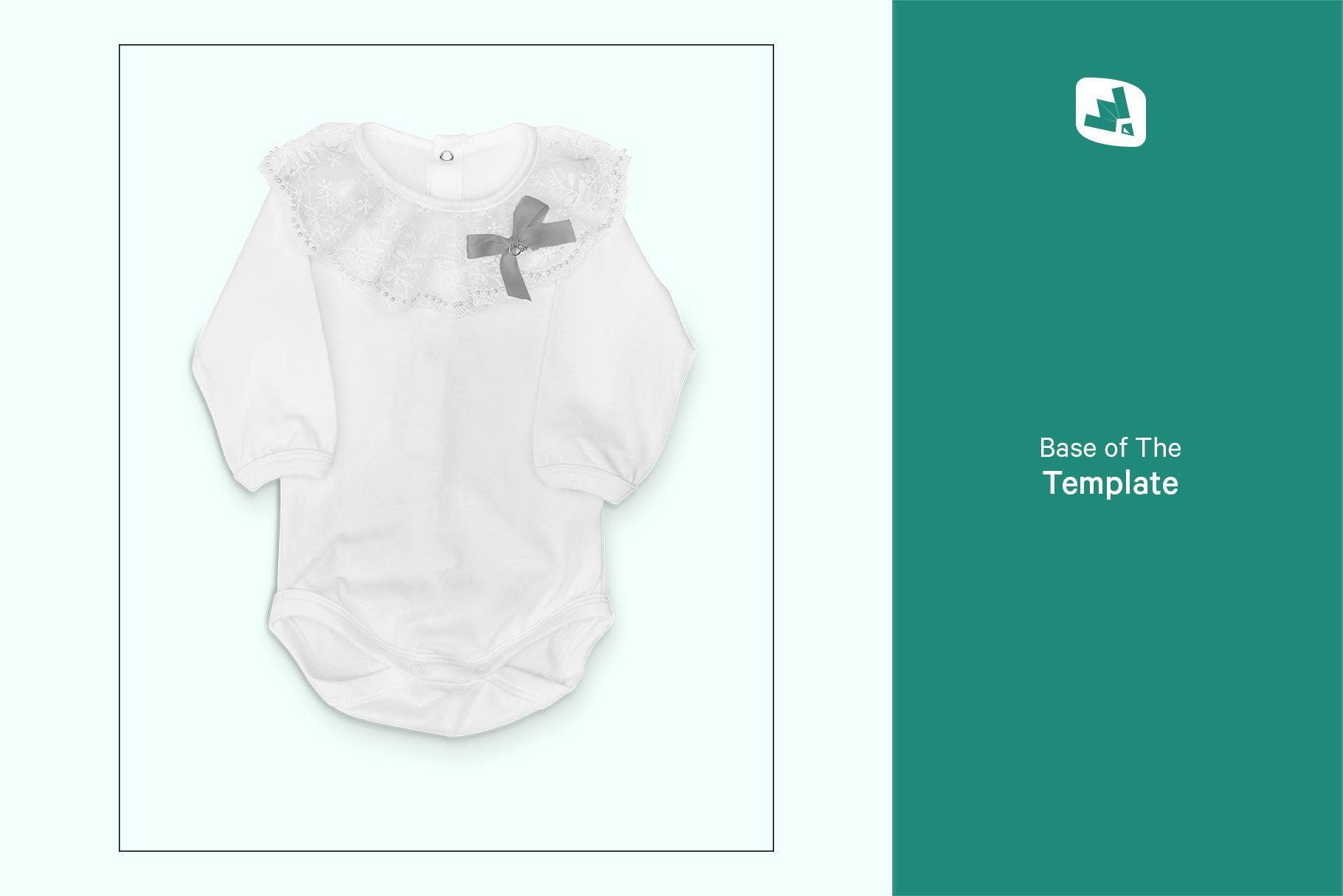 base image of the baby girl's onesie mockup