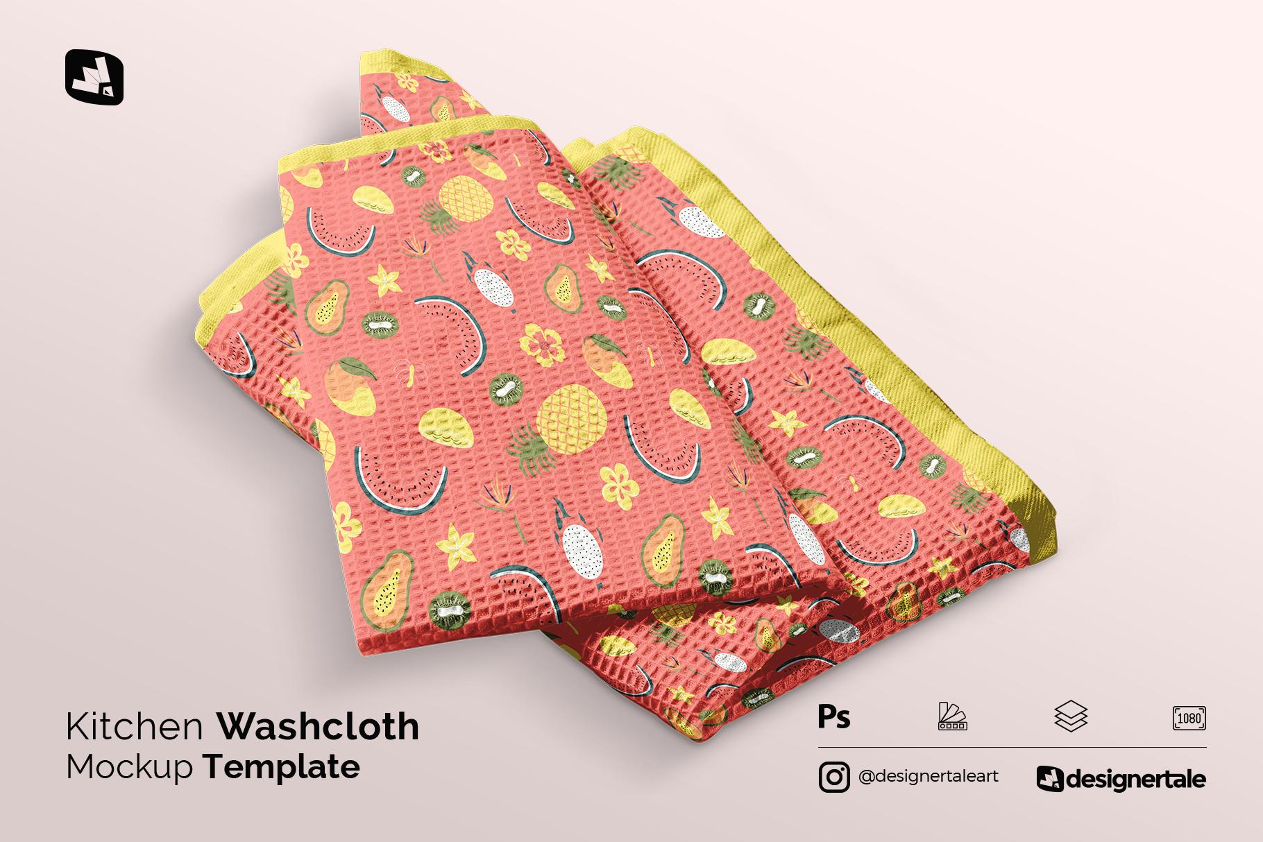 kitchen washcloth mockup